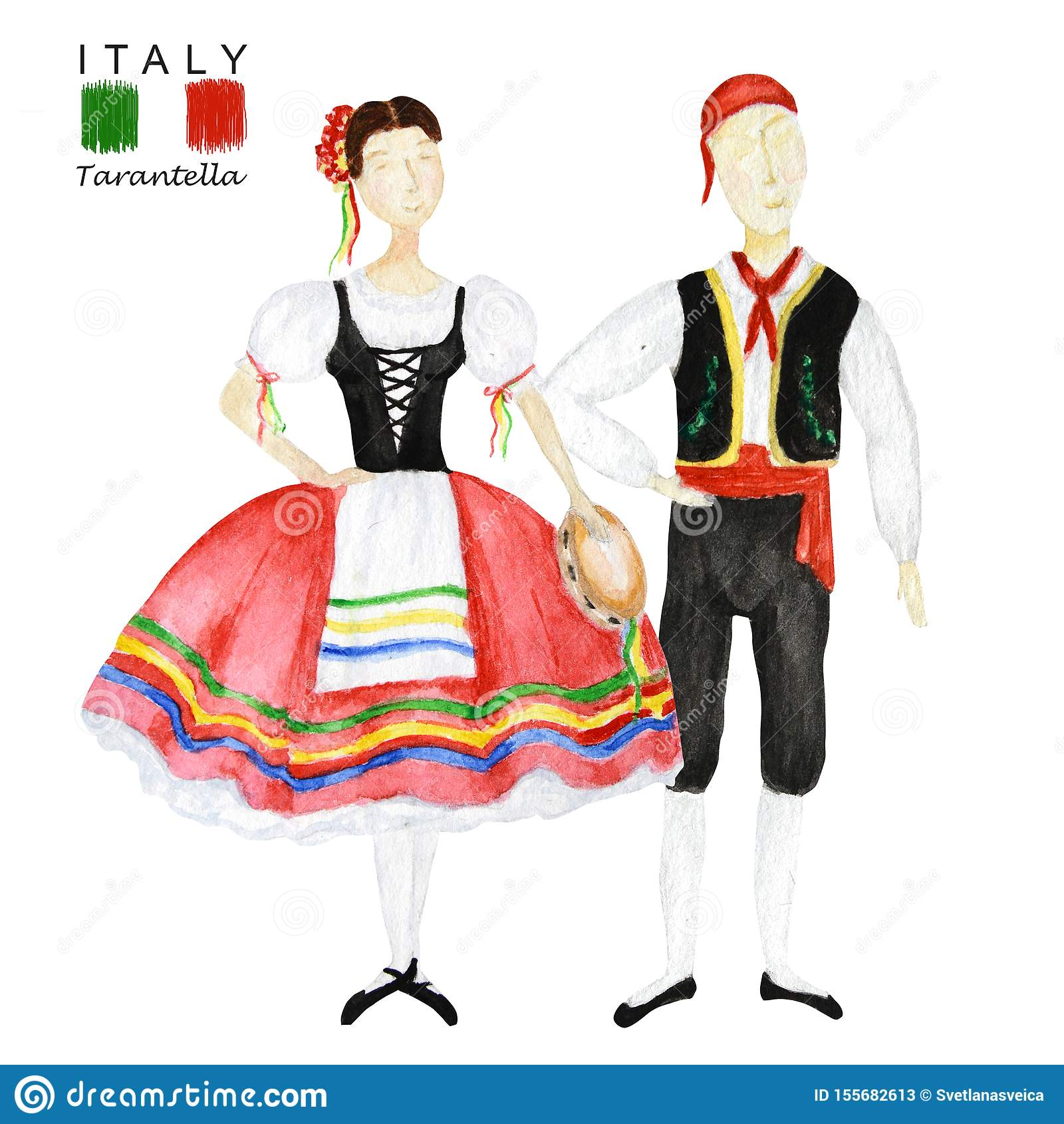 Couple Of Dancers In Red National Costume An Italian