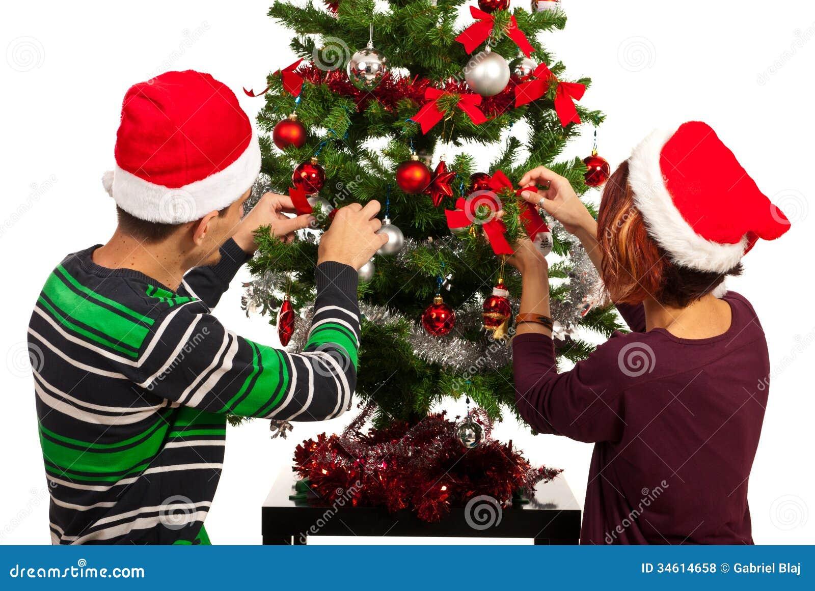 Couple Decorate Christmas Tree Stock Photo Image 34614658