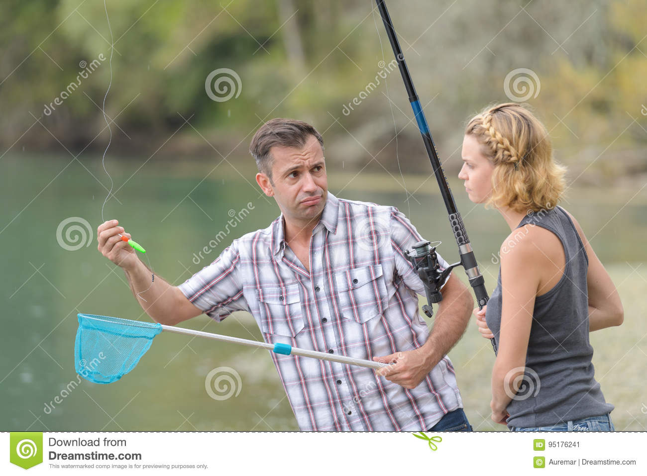 Couple disappointed that their fishing line empty