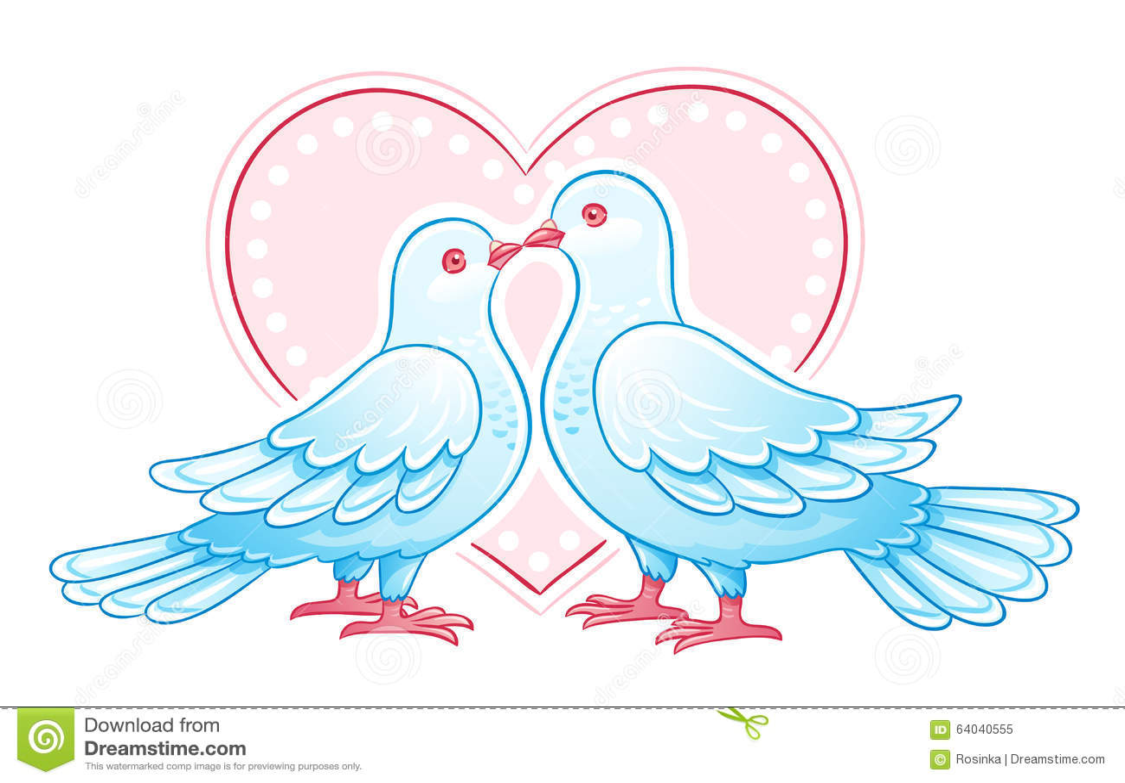 Stylized Doves On Fence Vector Illustration