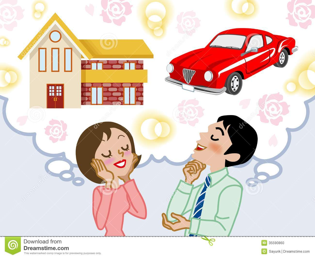 Couple Dreaming House And Car EPS10 Stock Photo Image
