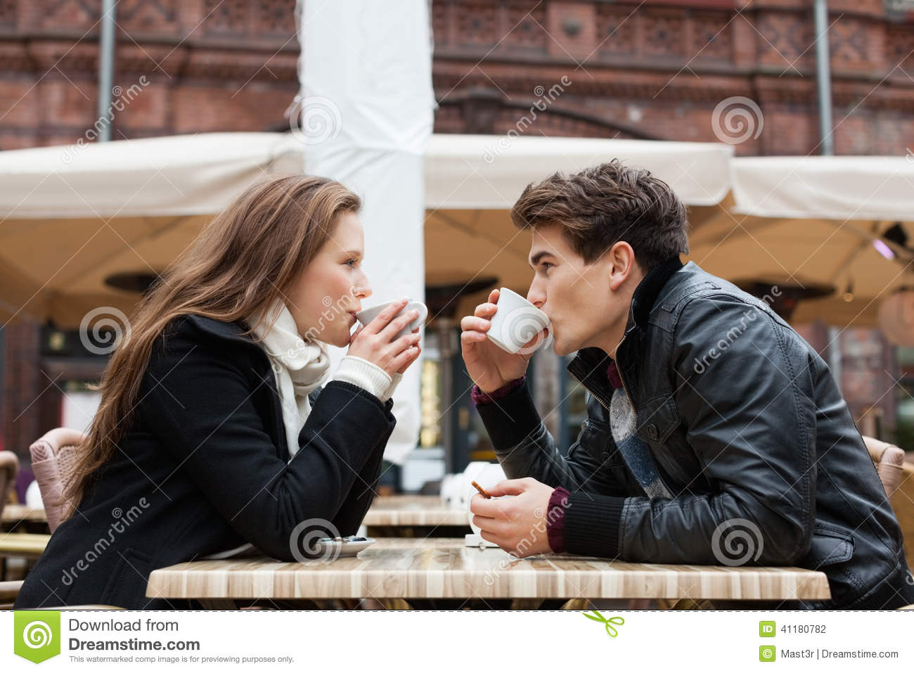 Couple Drinking Coffee Outdoor Restaurant Stock Photo