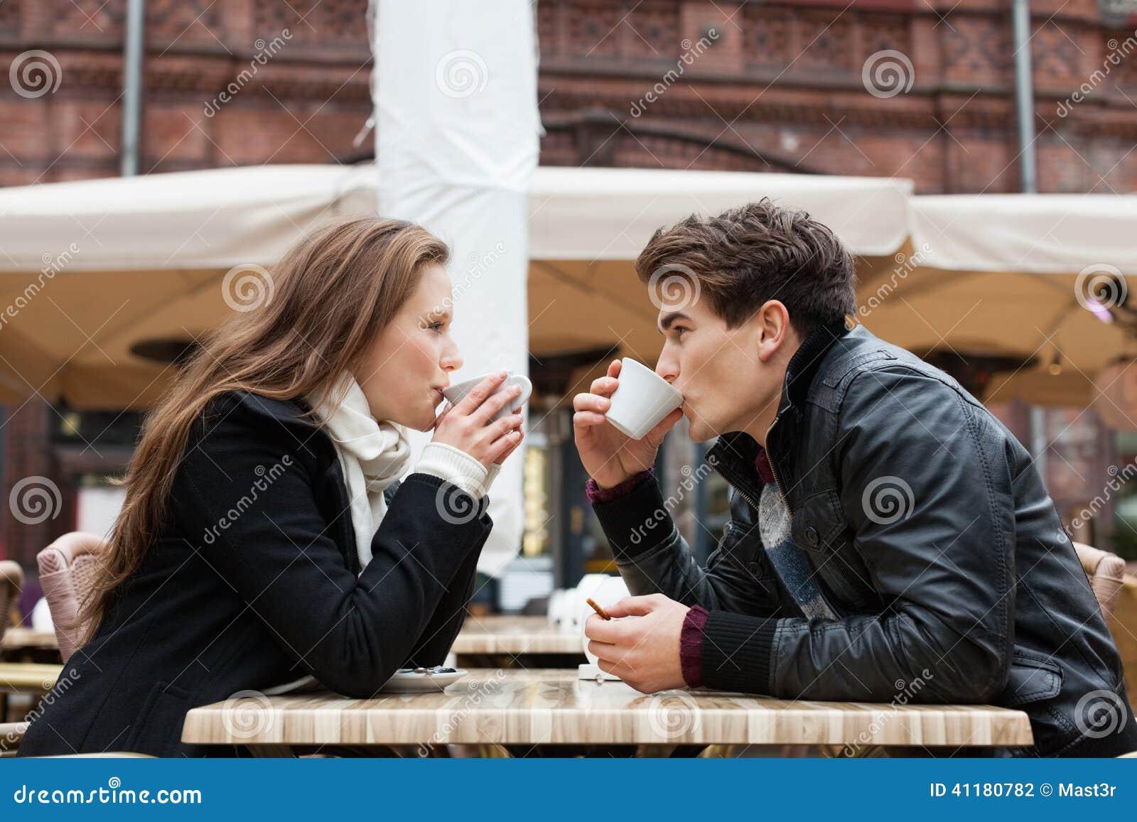 Couple Drinking Coffee Outdoor Restaurant Stock Photo