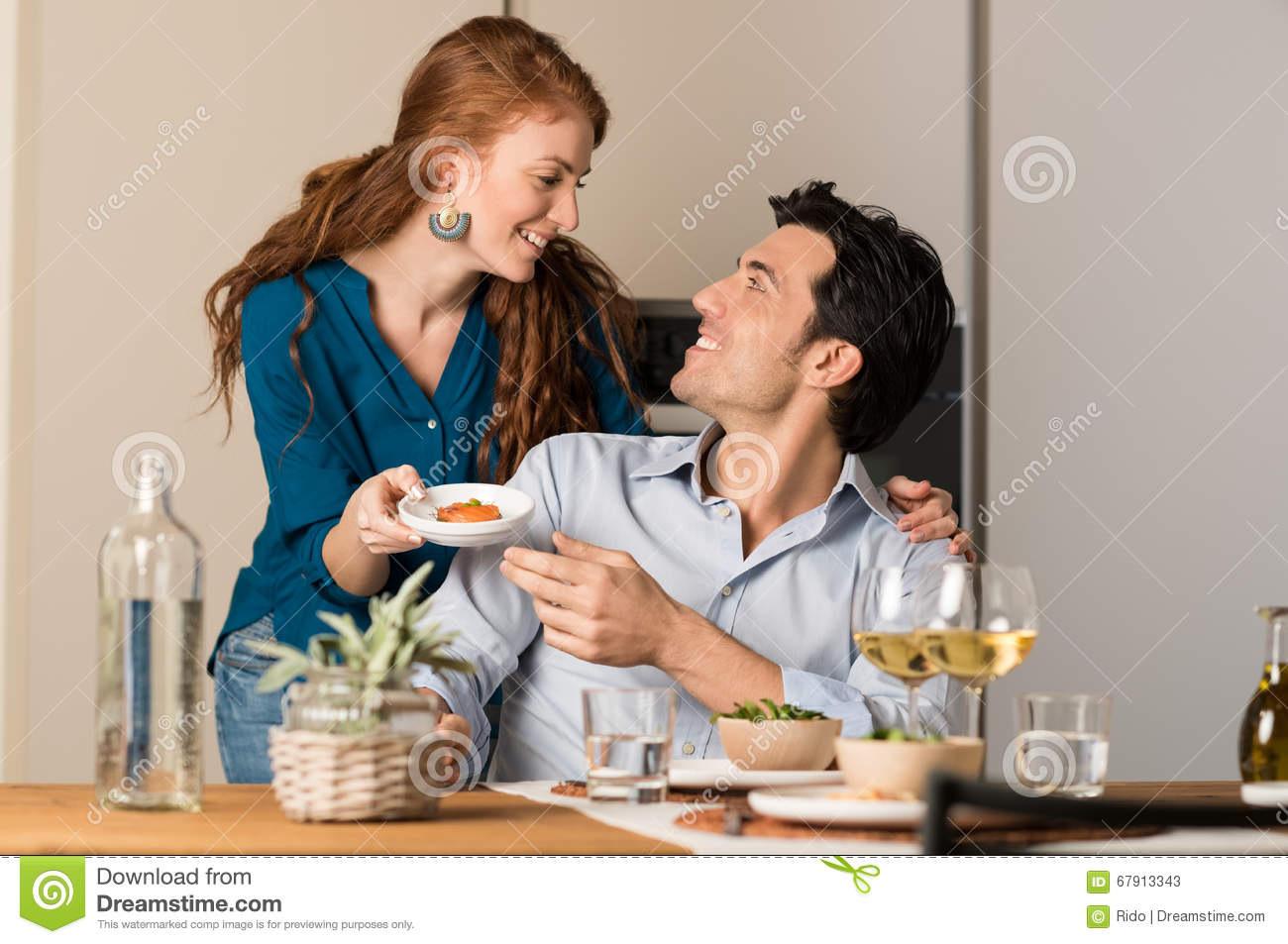 Couple Eating At Home Stock Image Image Of Love Smile 67913343