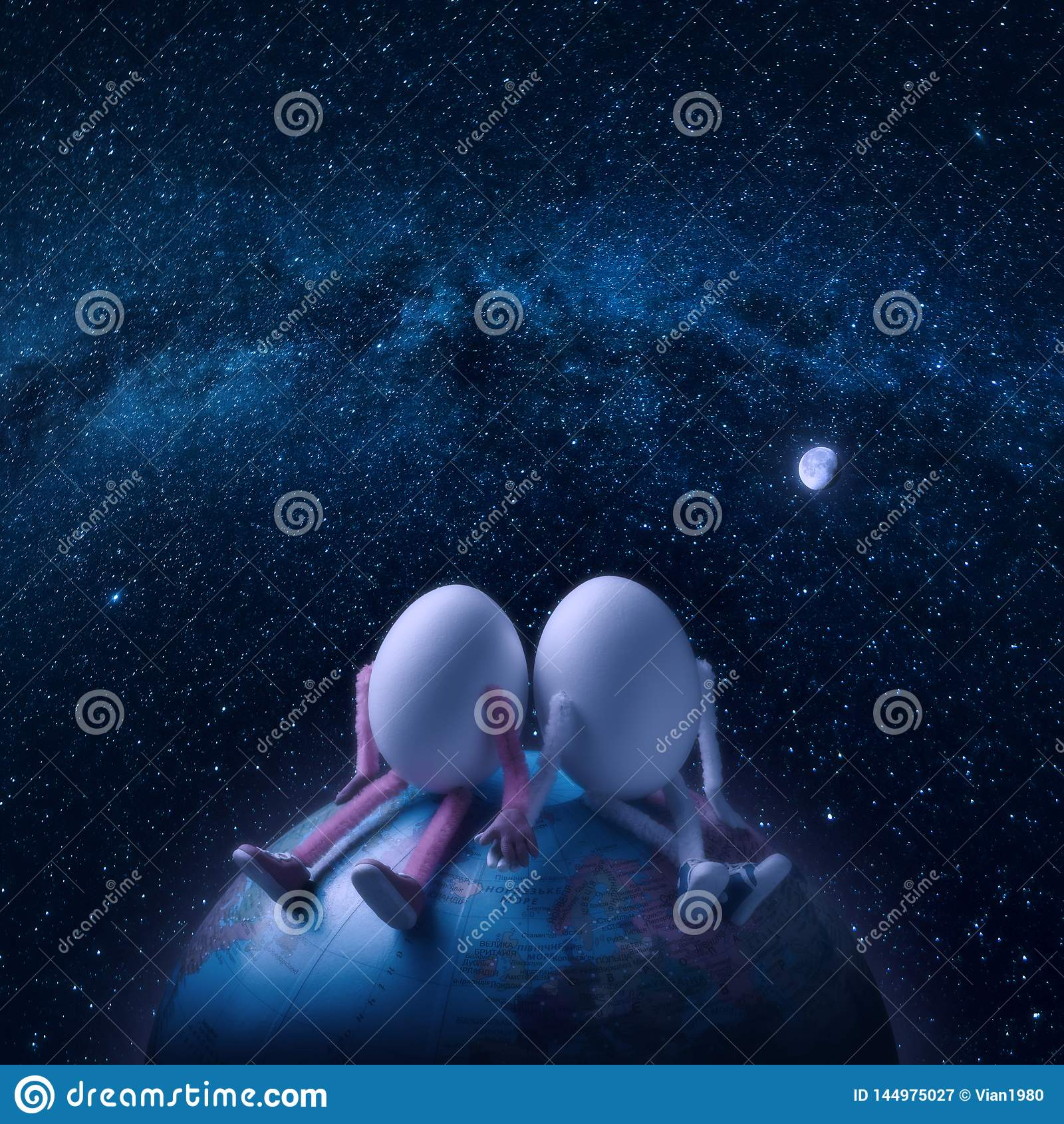 Couple of eggs in outer space