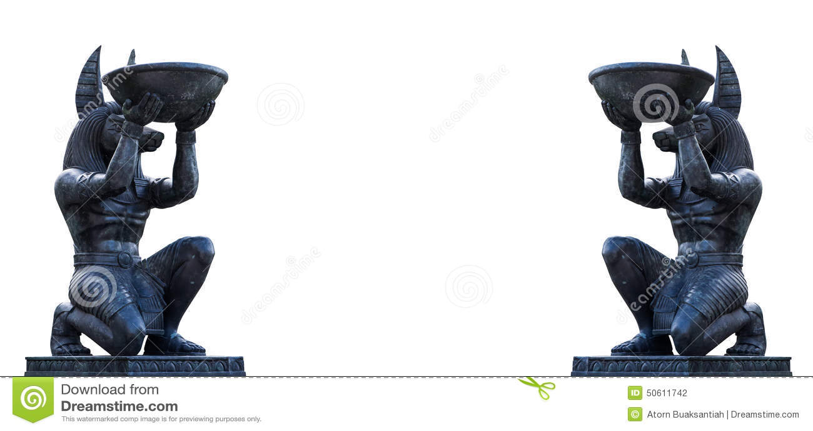 Couple Egyptian ancient art Anubis Sculpture Figurine Statue