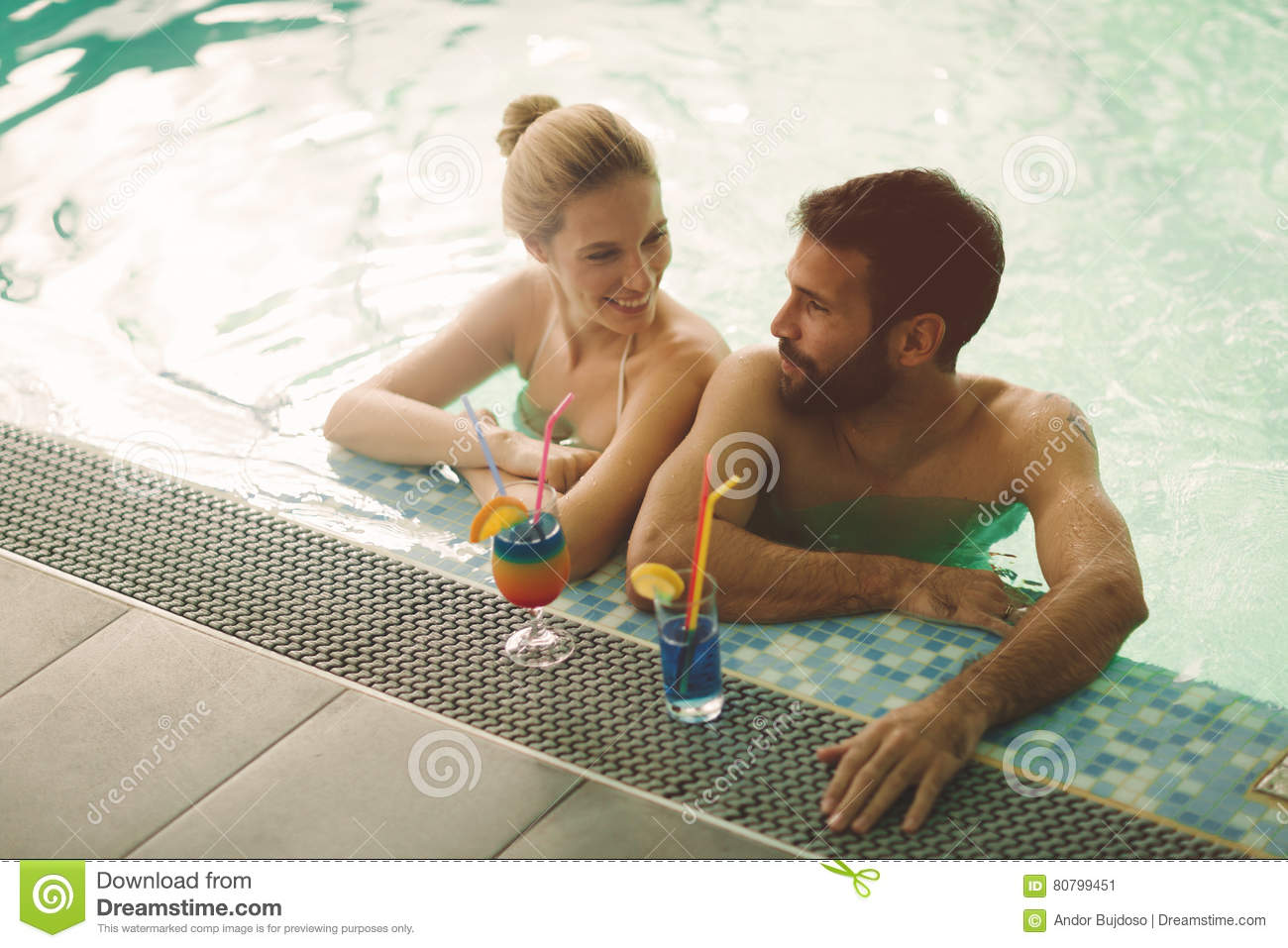 Couple enjoying spa wellness weekend