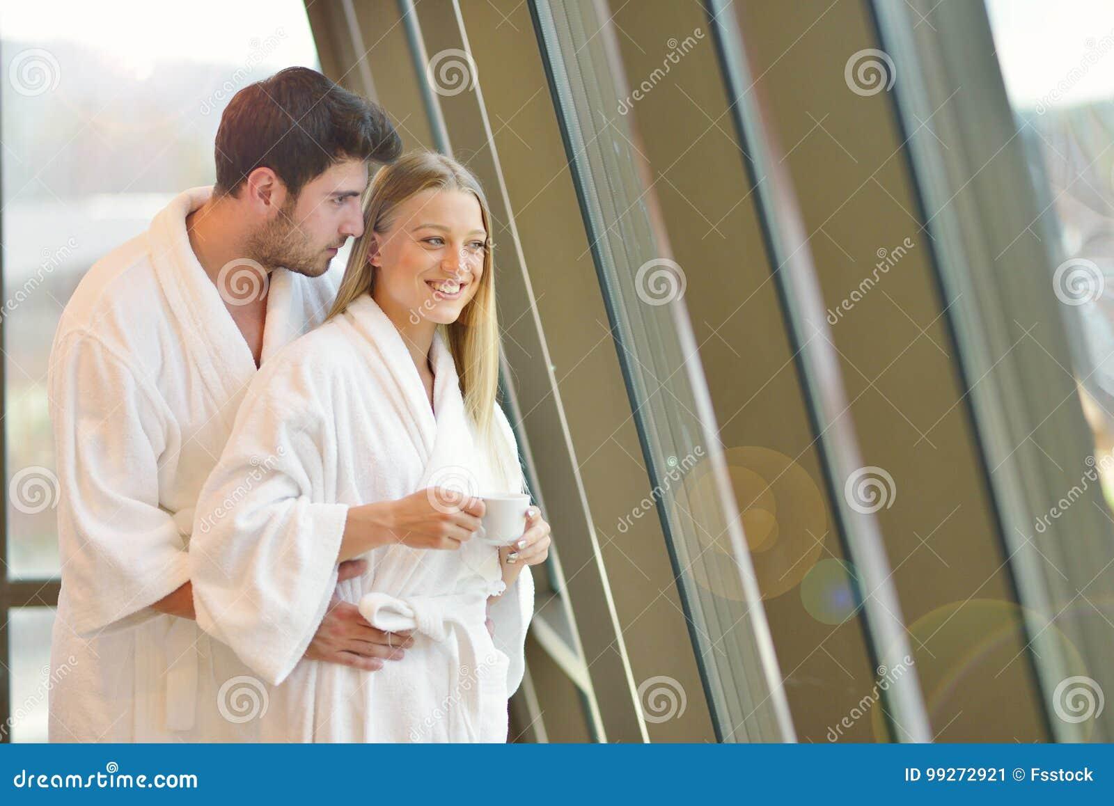Couple enjoying wellness weekend and spa