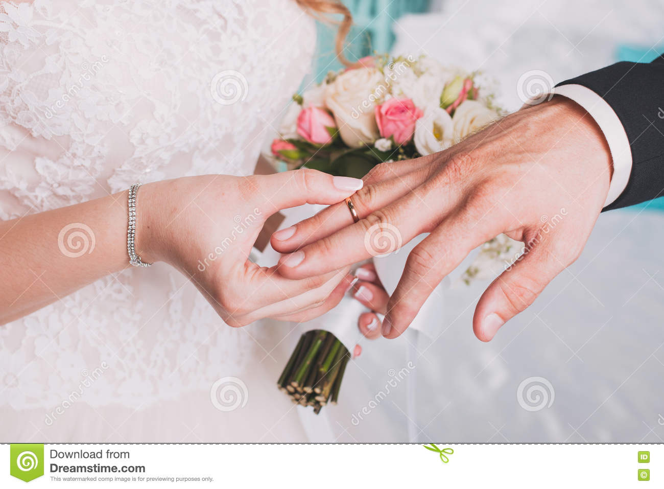 The Couple Exchange Wedding Rings Stock Image - Image of family ...