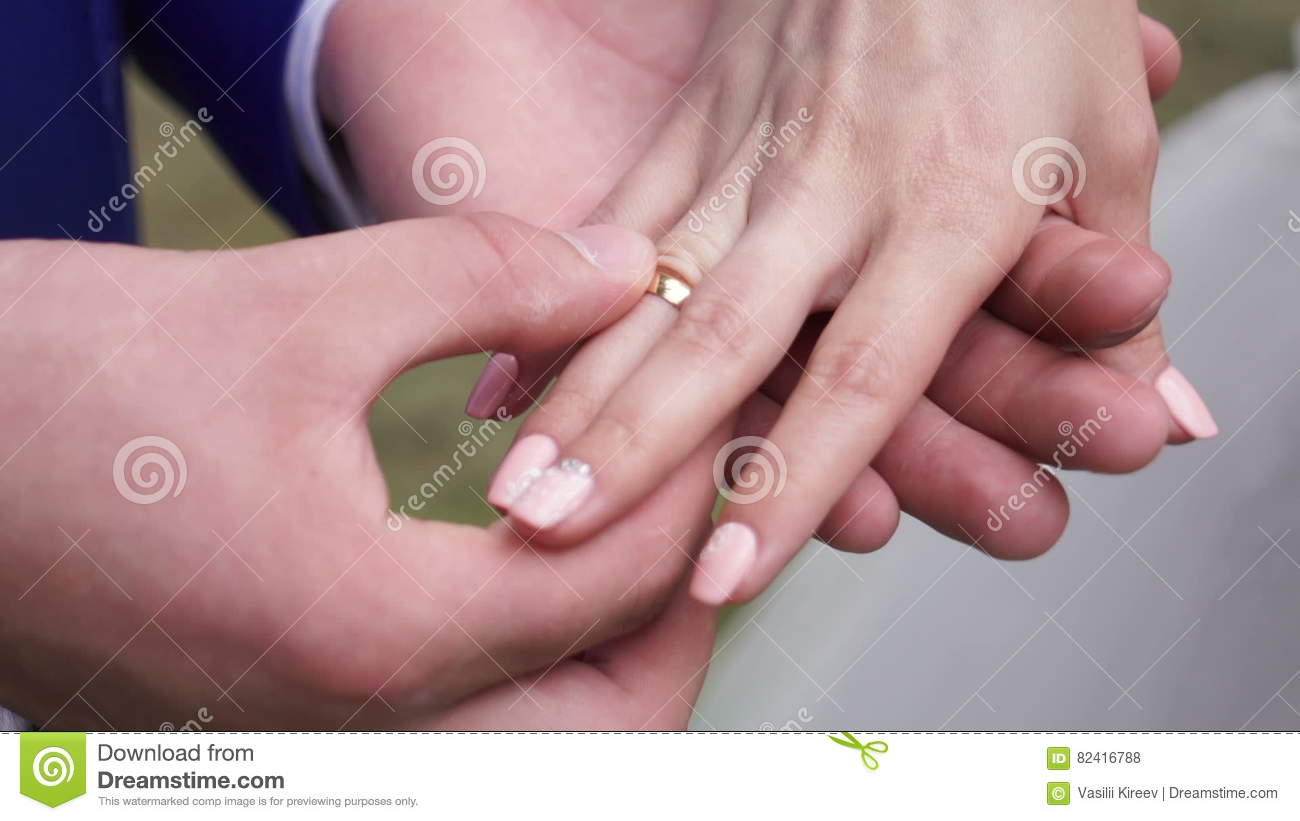 The Couple Exchange Wedding Rings Stock Footage - Video of flowers ...