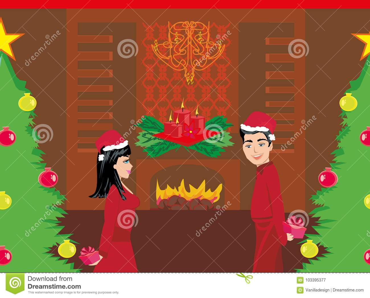Couple Exchanging Christmas Gifts Stock Vector - Illustration of ...