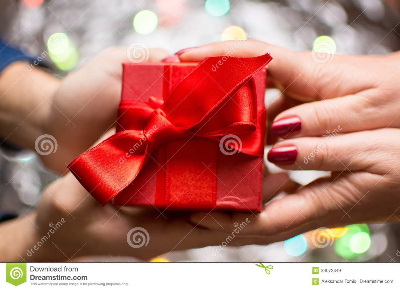 Couple Exchanging Valentines Presents Stock Image Image Of Holding
