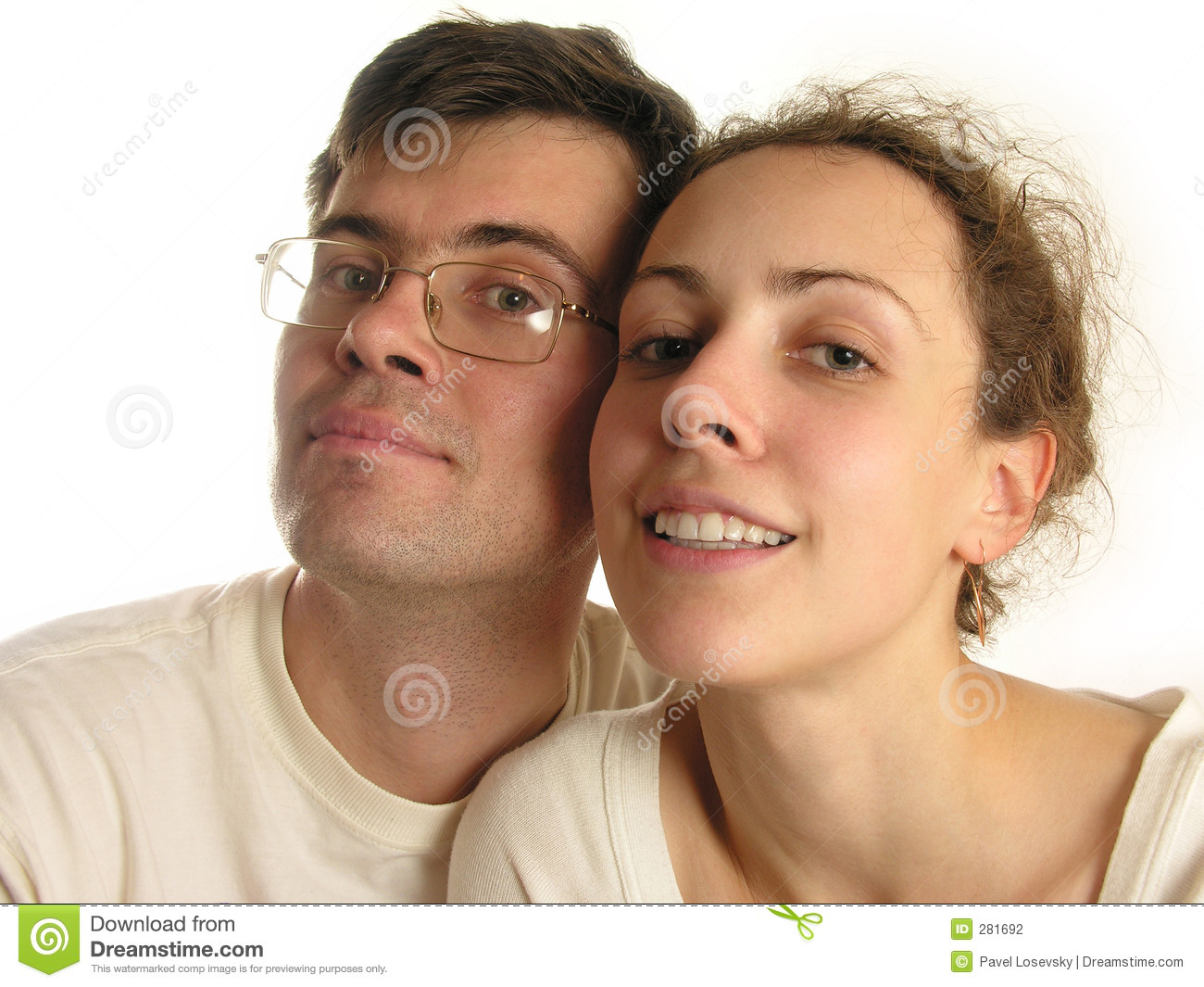 Couple faces isolated