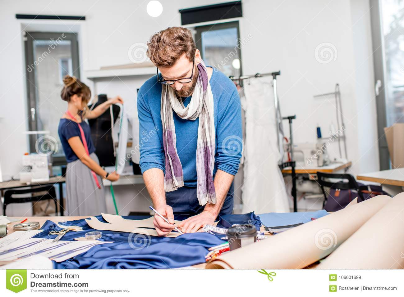 Couple Of Fashion Designers Working At The Studio Stock Image Image Of Professional Style 106601699