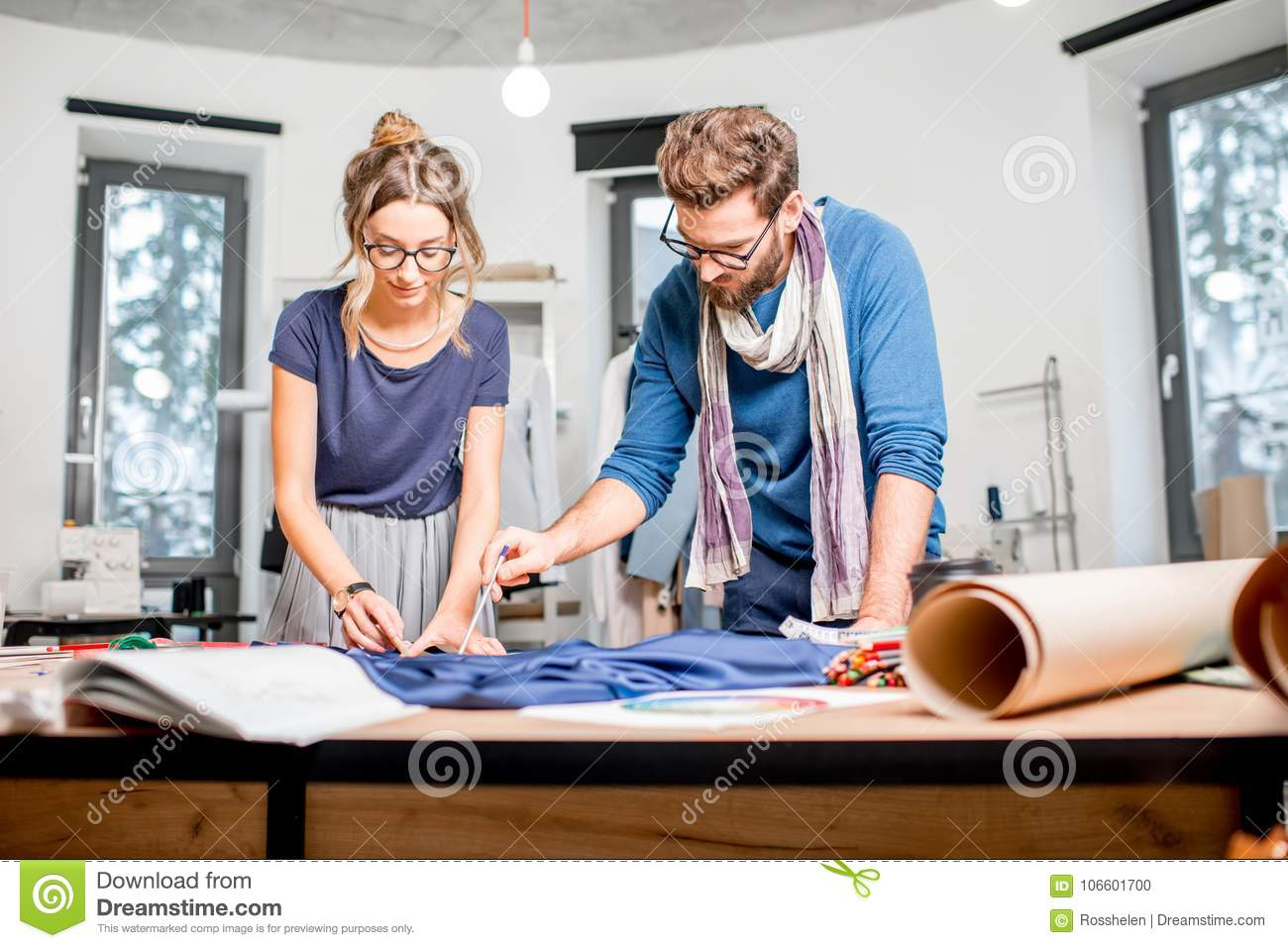 Couple Of Fashion Designers Working At The Studio Stock Photo Image Of Professional Model 106601700