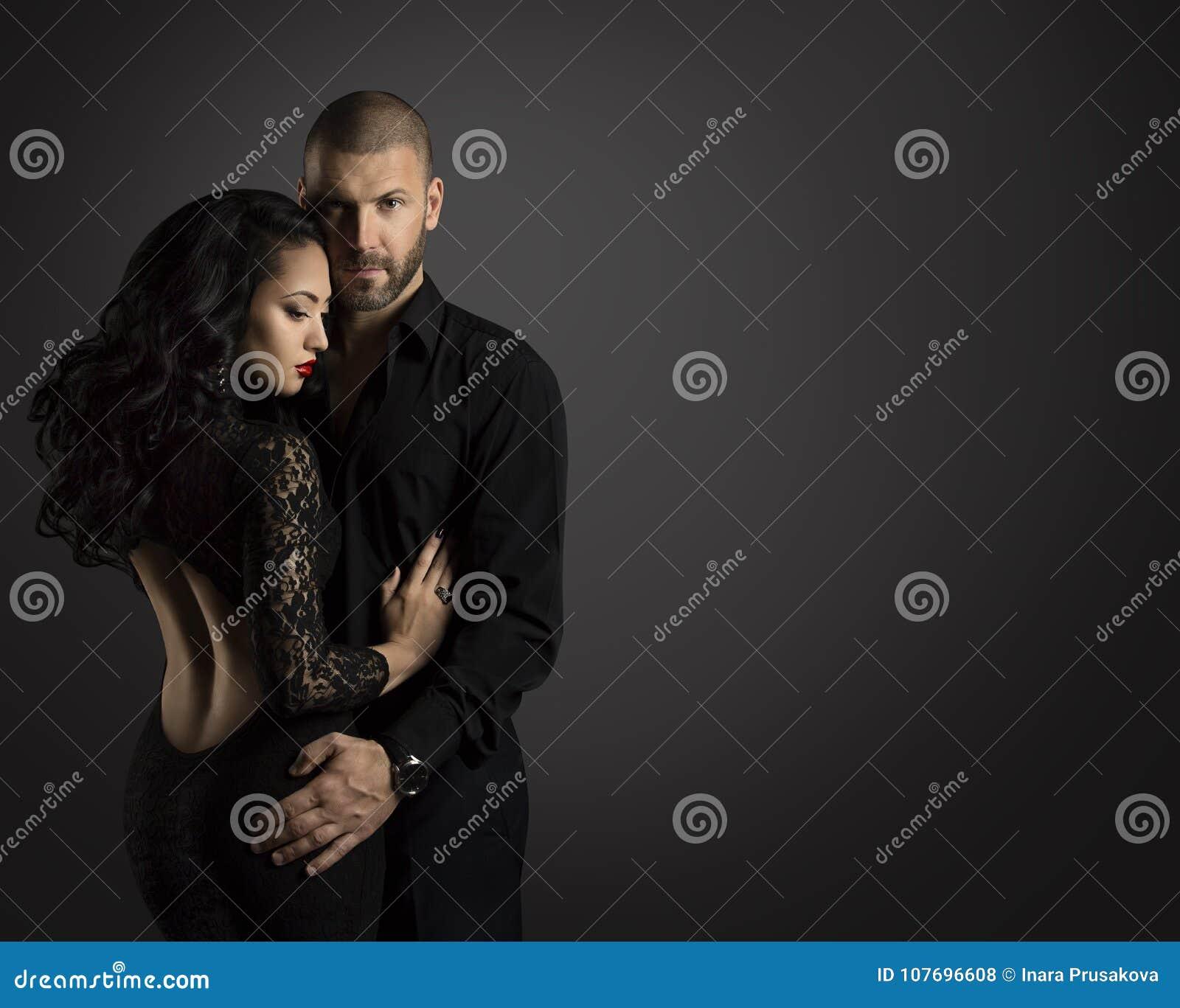 Couple Fashion Portrait, Young Man Embrace Woman in Black