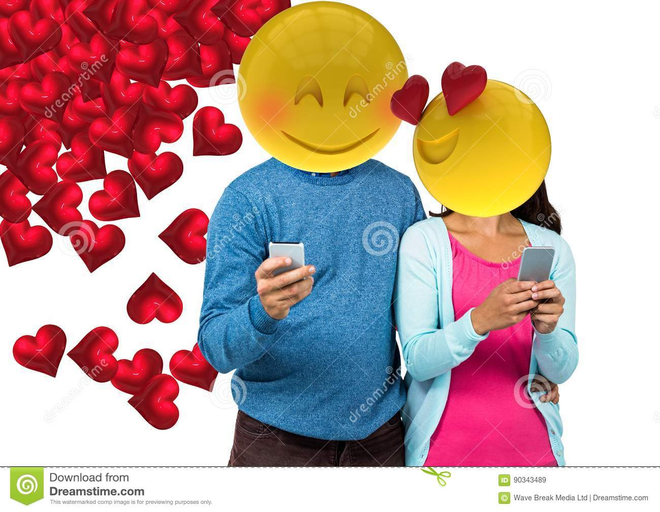 Couple Feeling In Love  Emoji Face  Stock Illustration