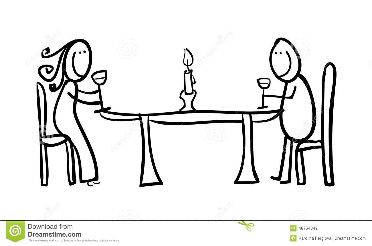 Line Art Design Illustration : Couple figures having a dinner stock illustration image