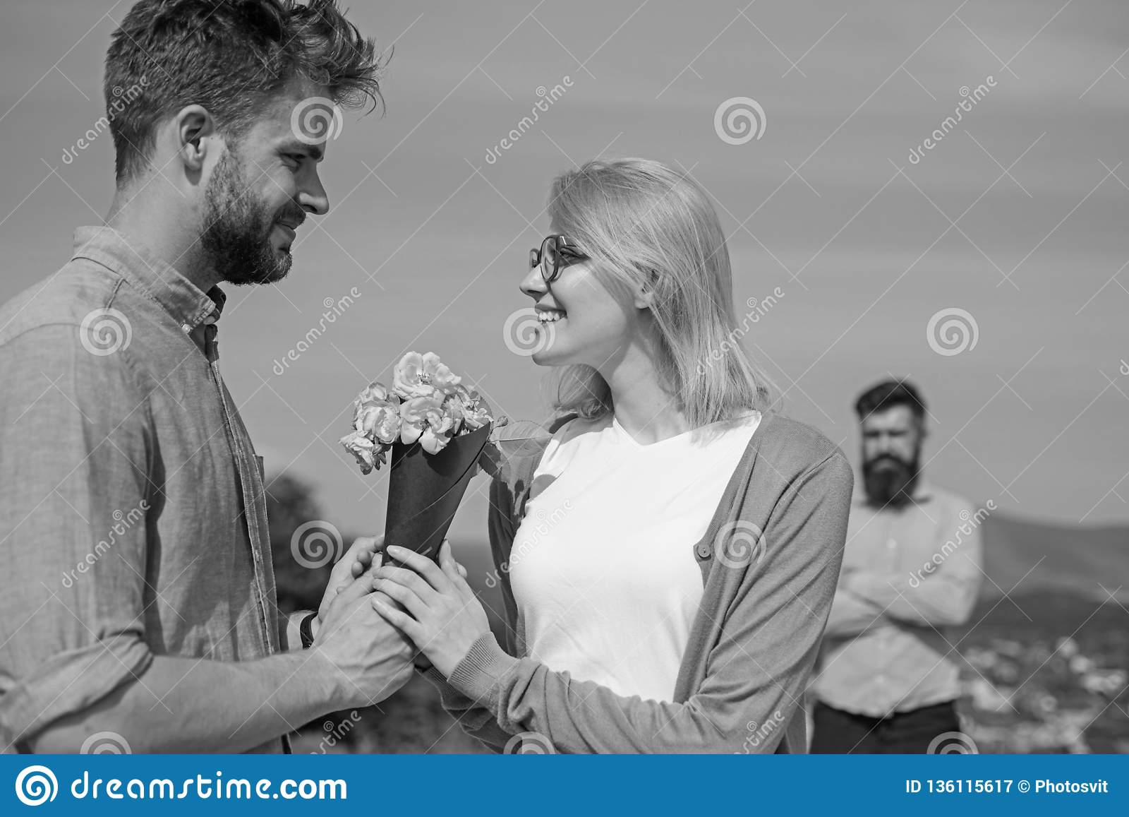 Couple With Flowers Bouquet Romantic Date  New Love  Couple