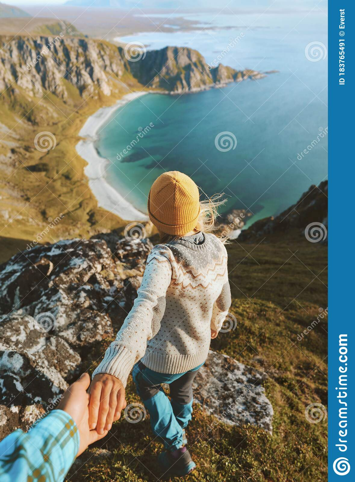 Couple Follow Me Holding Hands Hiking In Mountains Above Ocean