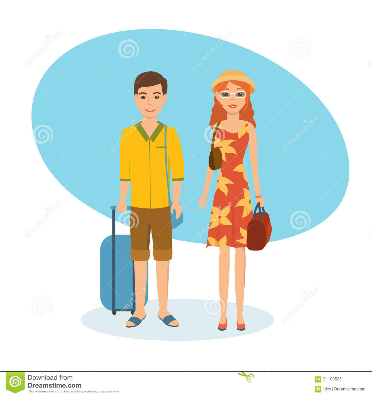 Couple Enjoying Their Summer Holidays Stock Photo: Couple With Full Luggage Travels, Spends Holidays, And