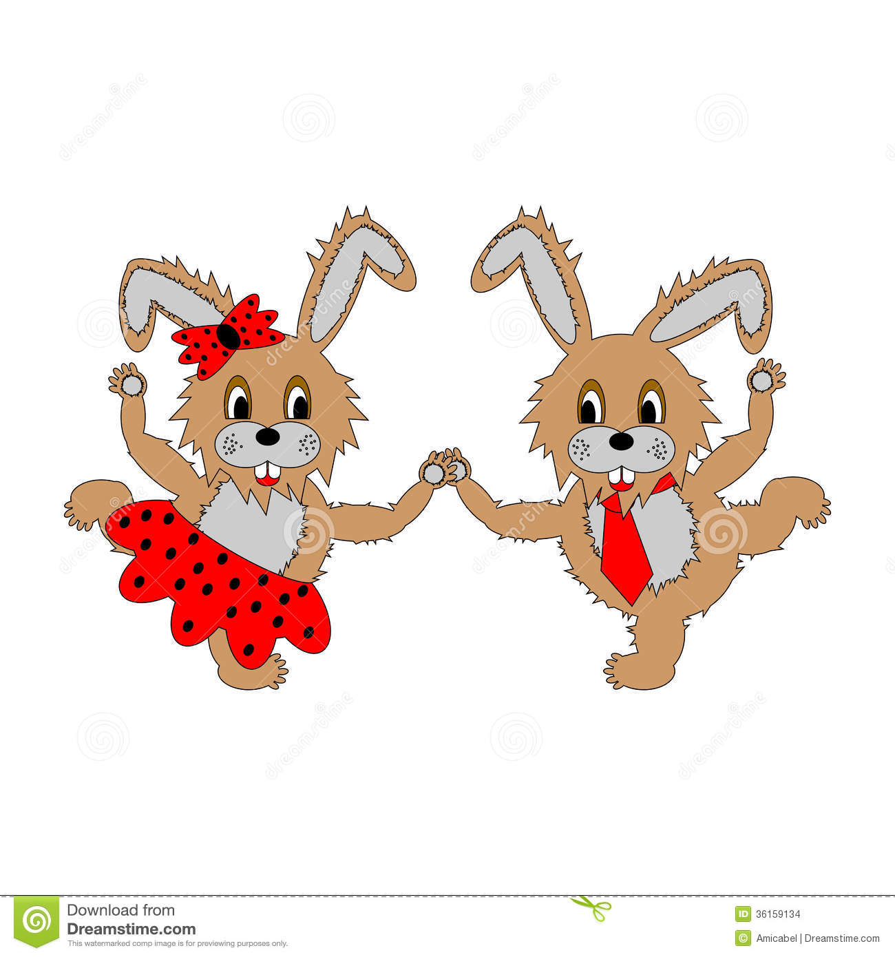 A couple Of Funny cartoon Rabbits. A Boy And A Gir Stock Vector - Image: 36159134
