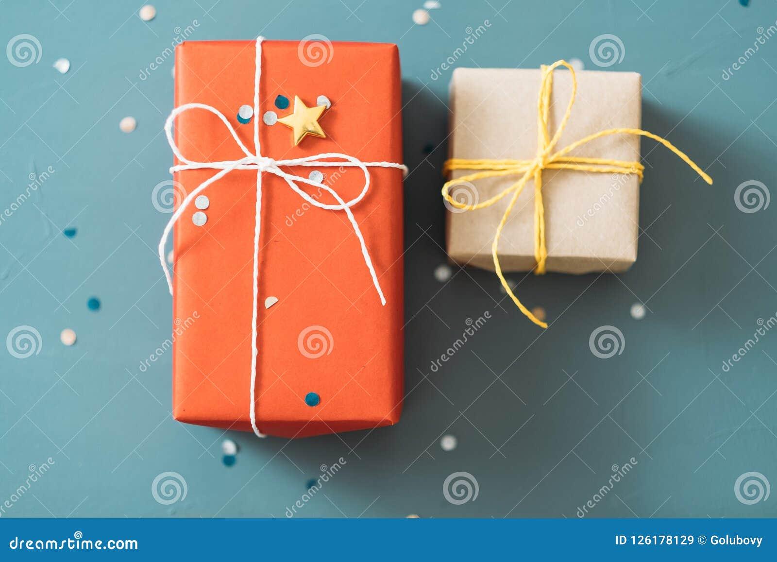 Couple Gift Anniversary Valentine Two Present Box Stock Image