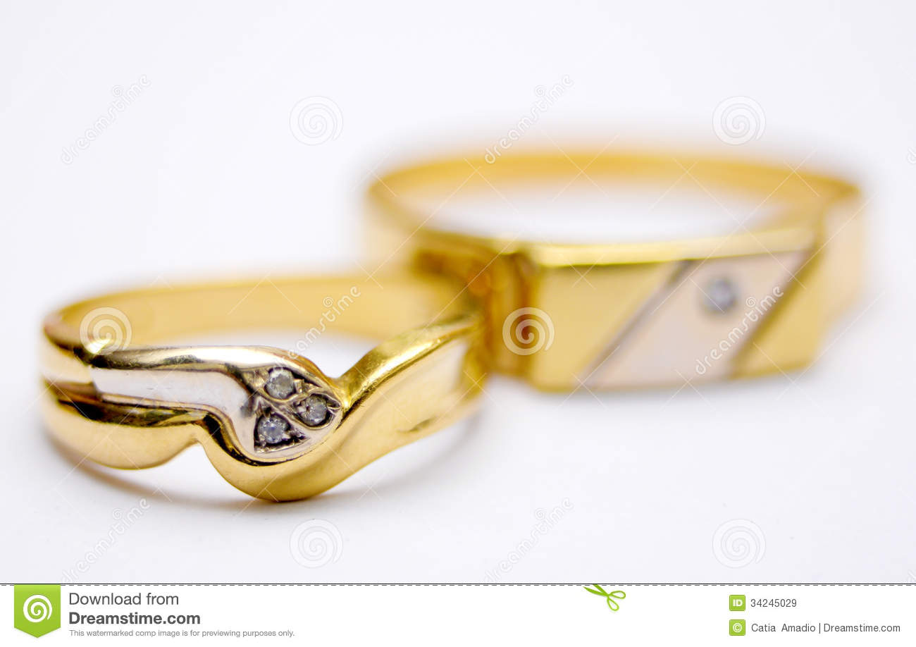 Couple of gold rings stock image. Image of jewels, jewelry - 34245029
