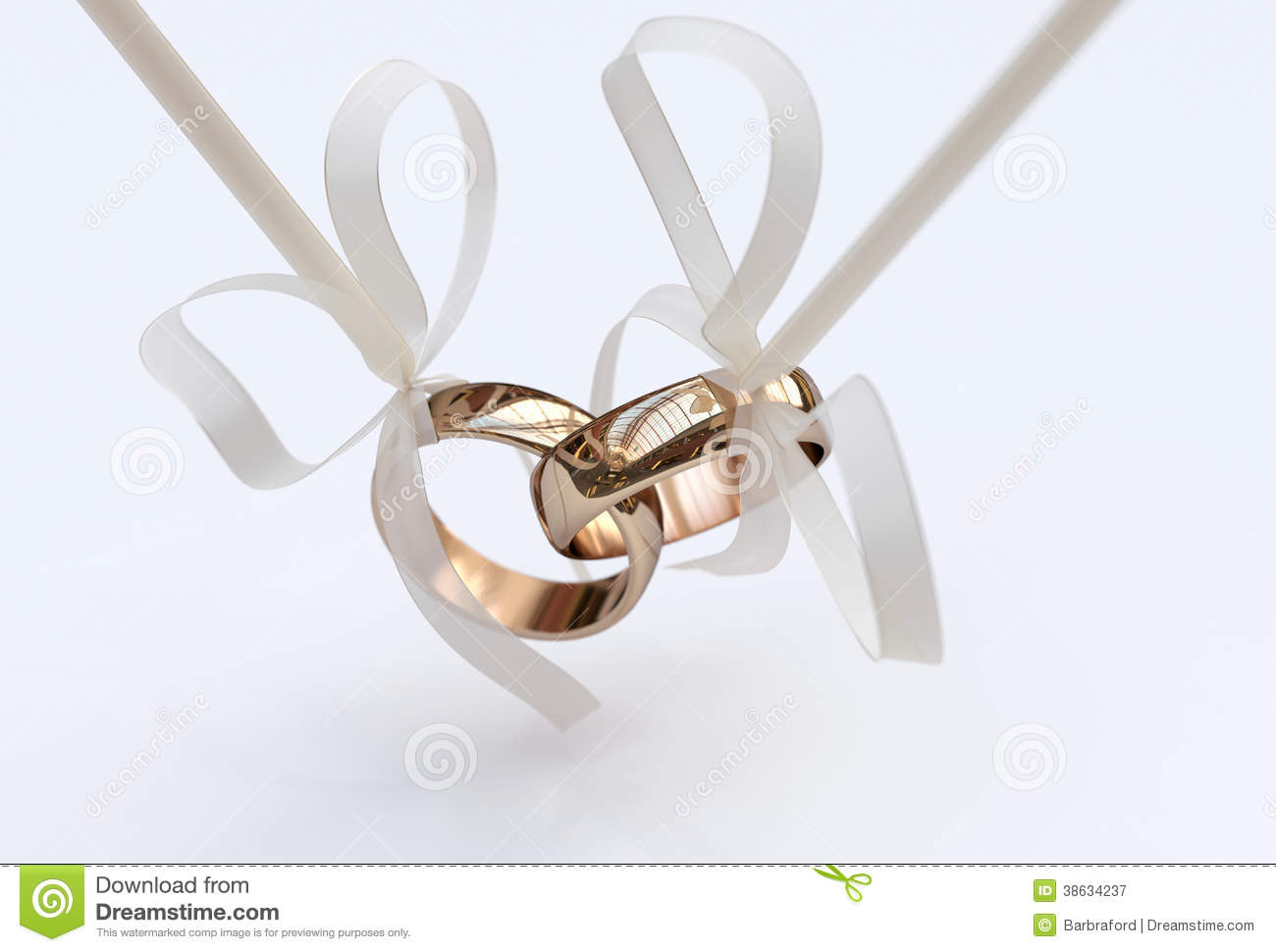 royalty free stock photography couple gold wedding rings bows white background image couples wedding bands Couple of gold wedding rings with bows