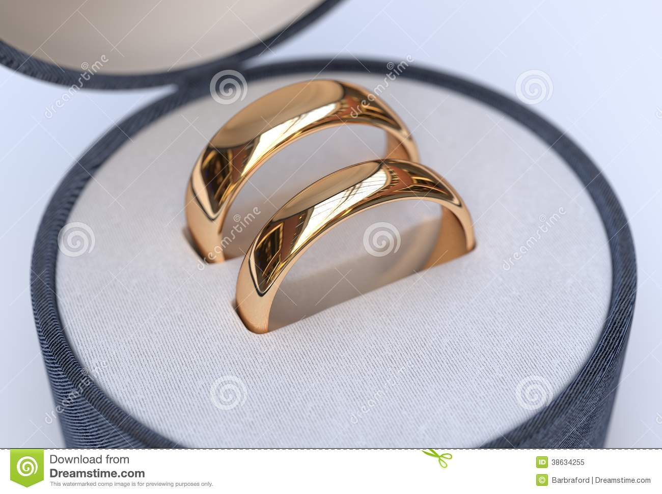 Couple Of Gold Wedding Rings In Jewelry Blue Box Royalty ...