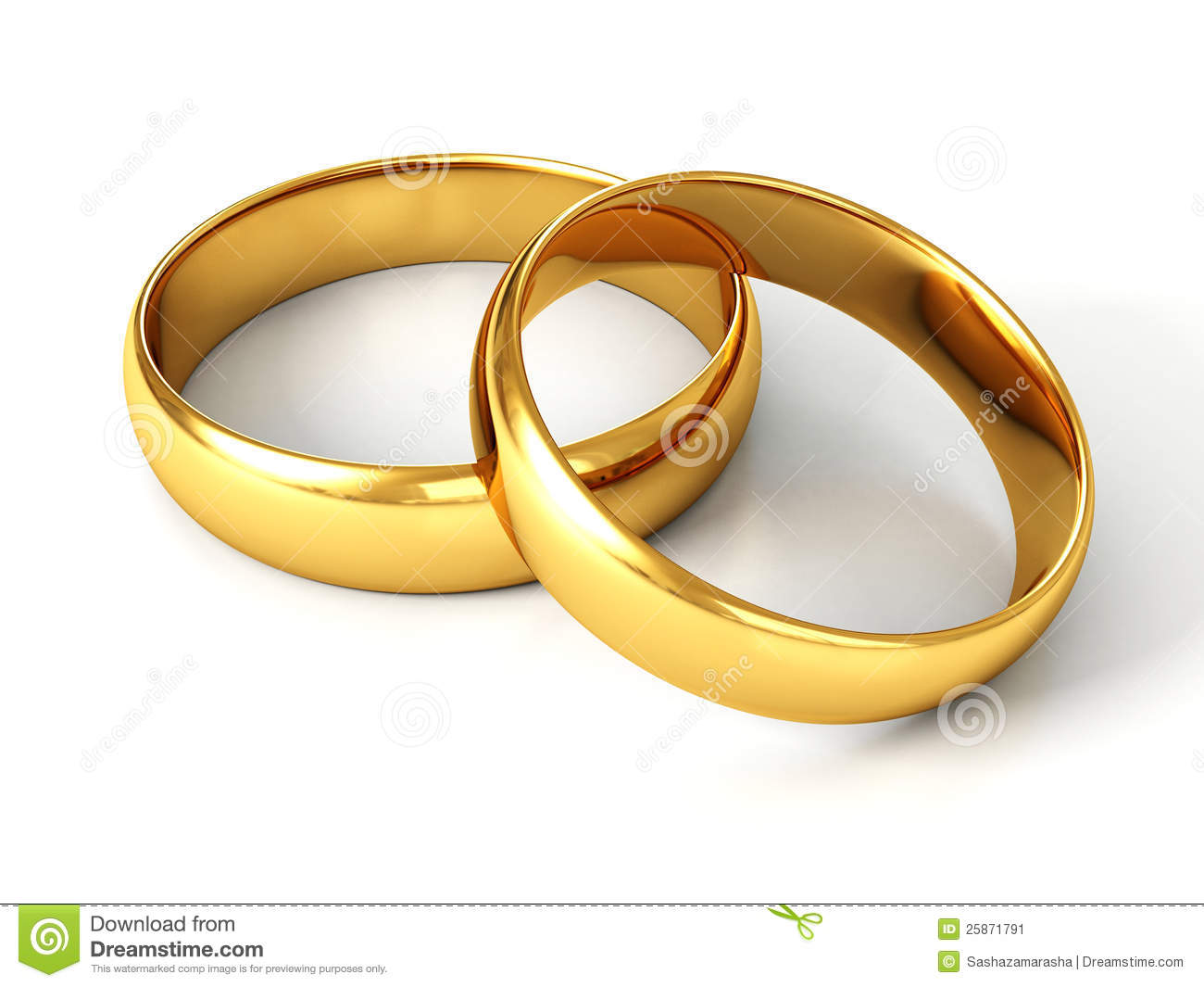 Couple Of Gold Wedding Rings On White Background Stock Illustration