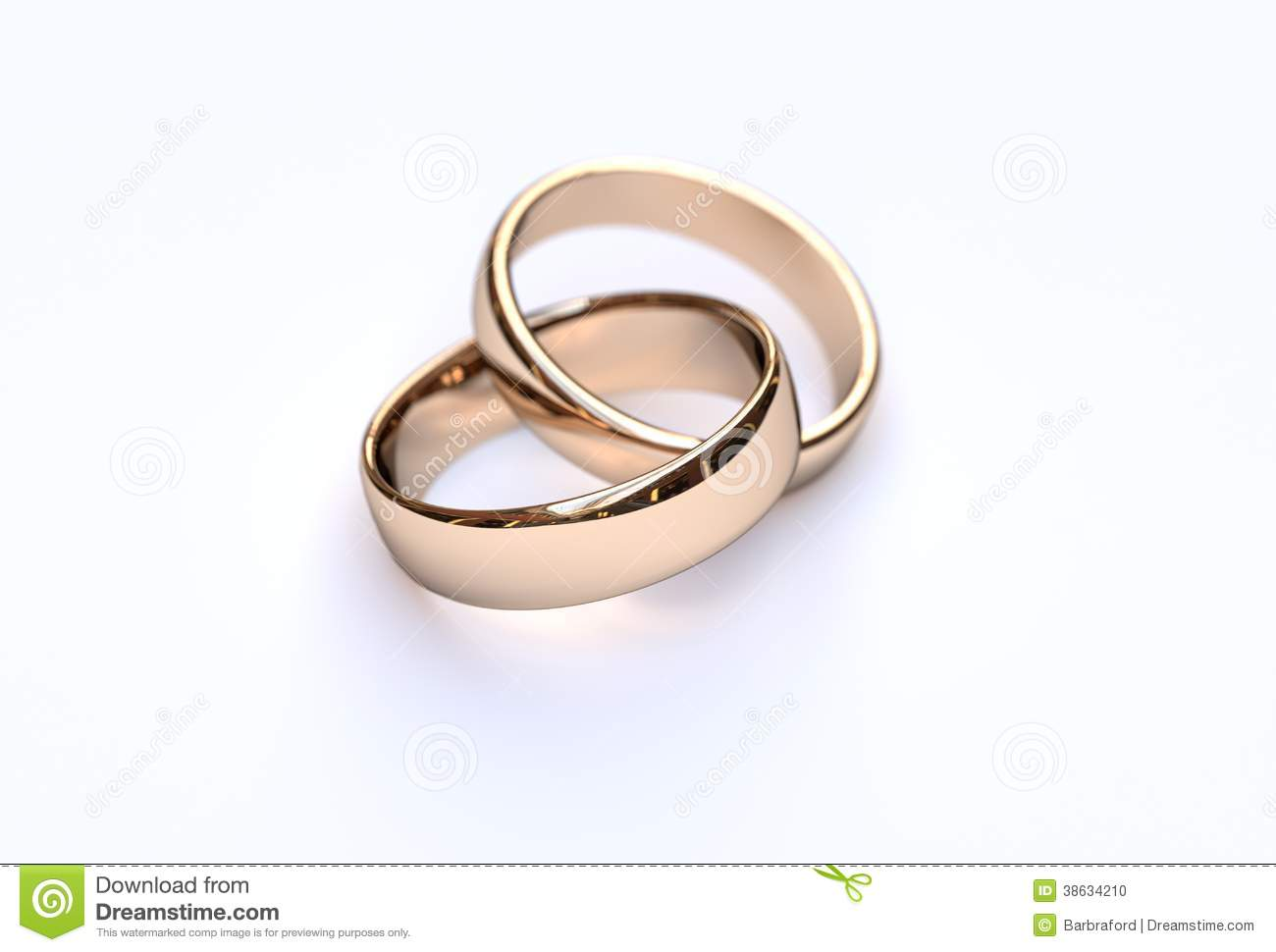 Couple Of Gold Wedding Rings On White Background Stock Photo - Image ...