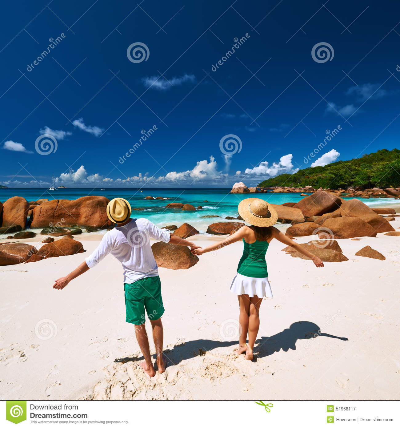 Couple At The Beach Stock Image Image Of Caucasian: Couple In Green Having Fun On A Beach At Seychelles Stock