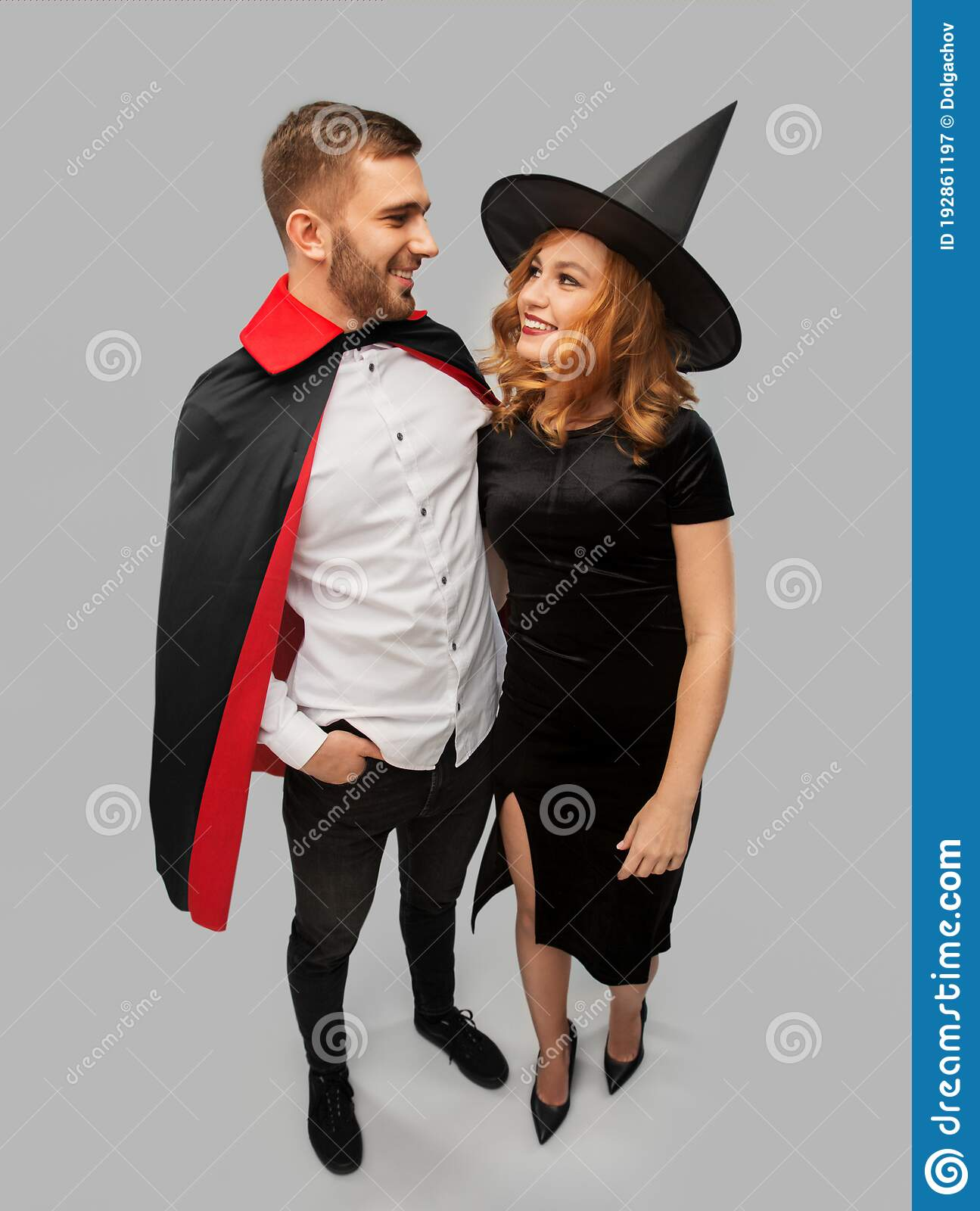 Vampire Couple Halloween Costumes.Couple In Halloween Costumes Of Witch And Vampire Stock Image Image Of Embracing Costume 192861197