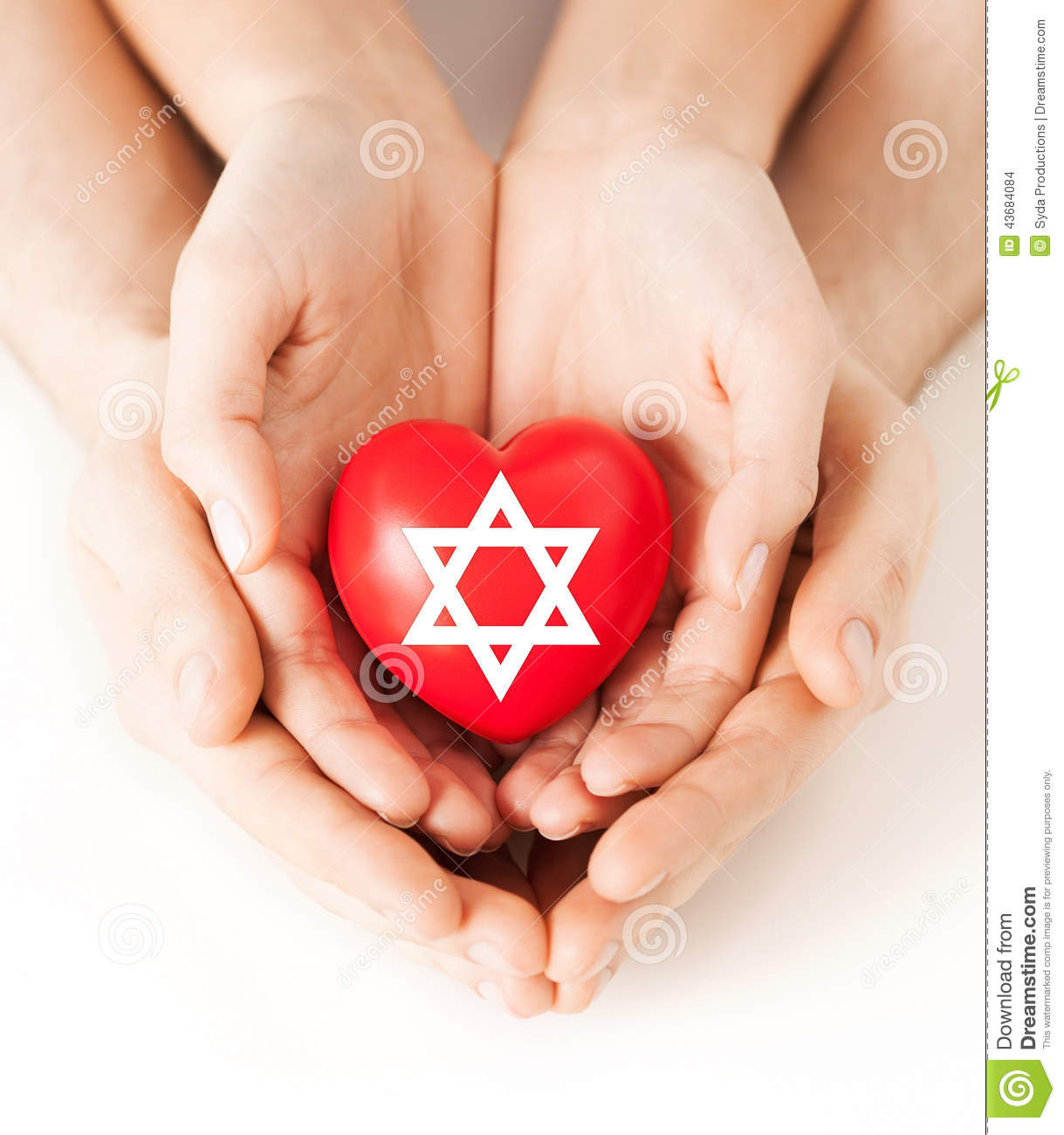 Couple hands holding heart with star of david