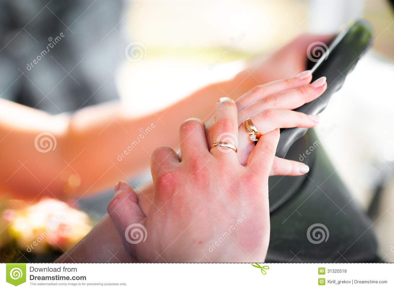 Couple Hands On The Steering Wheel Stock Photo - Image of holiday ...