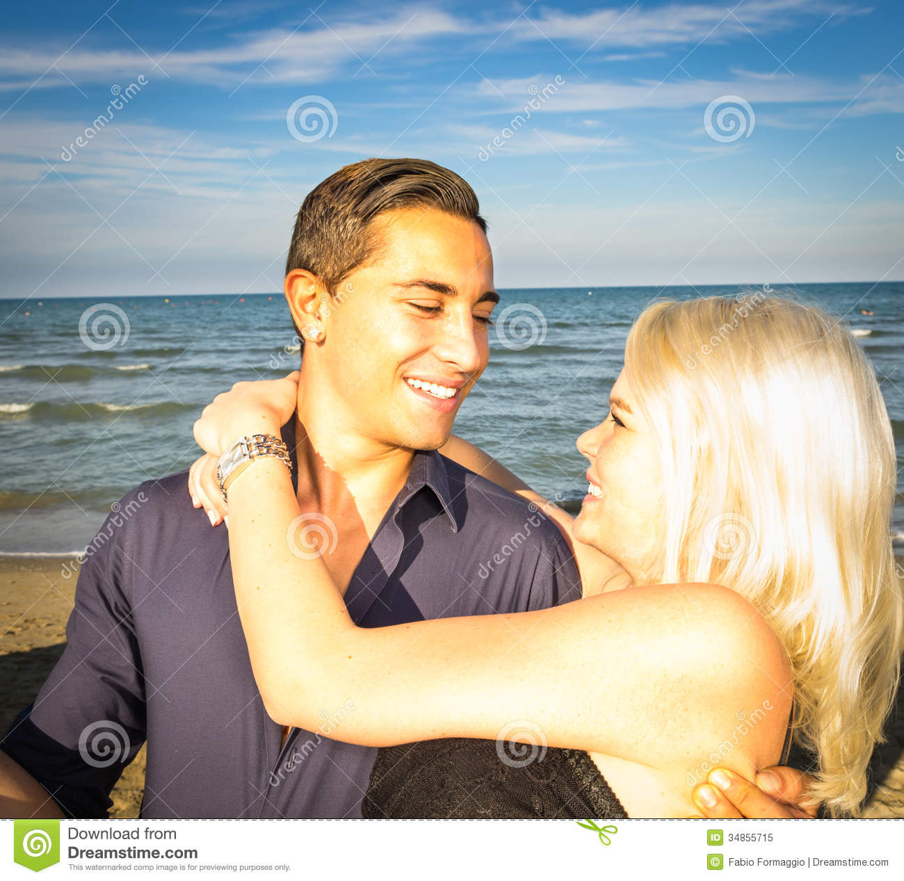 Couple At The Beach Stock Image Image Of Caucasian: Couple Happy On The Beach Stock Image. Image Of Dress