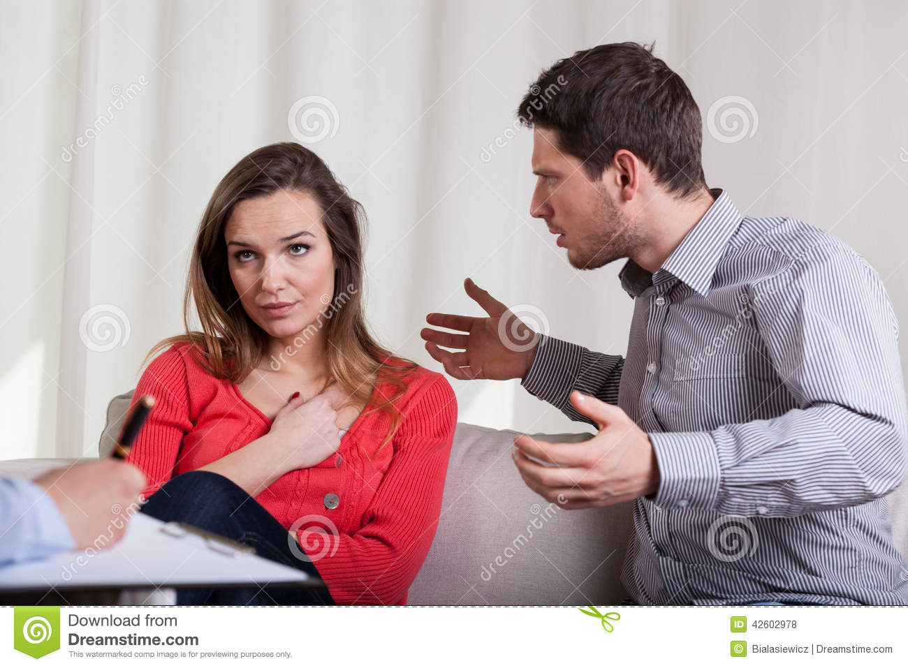 Couple having argument on therapy