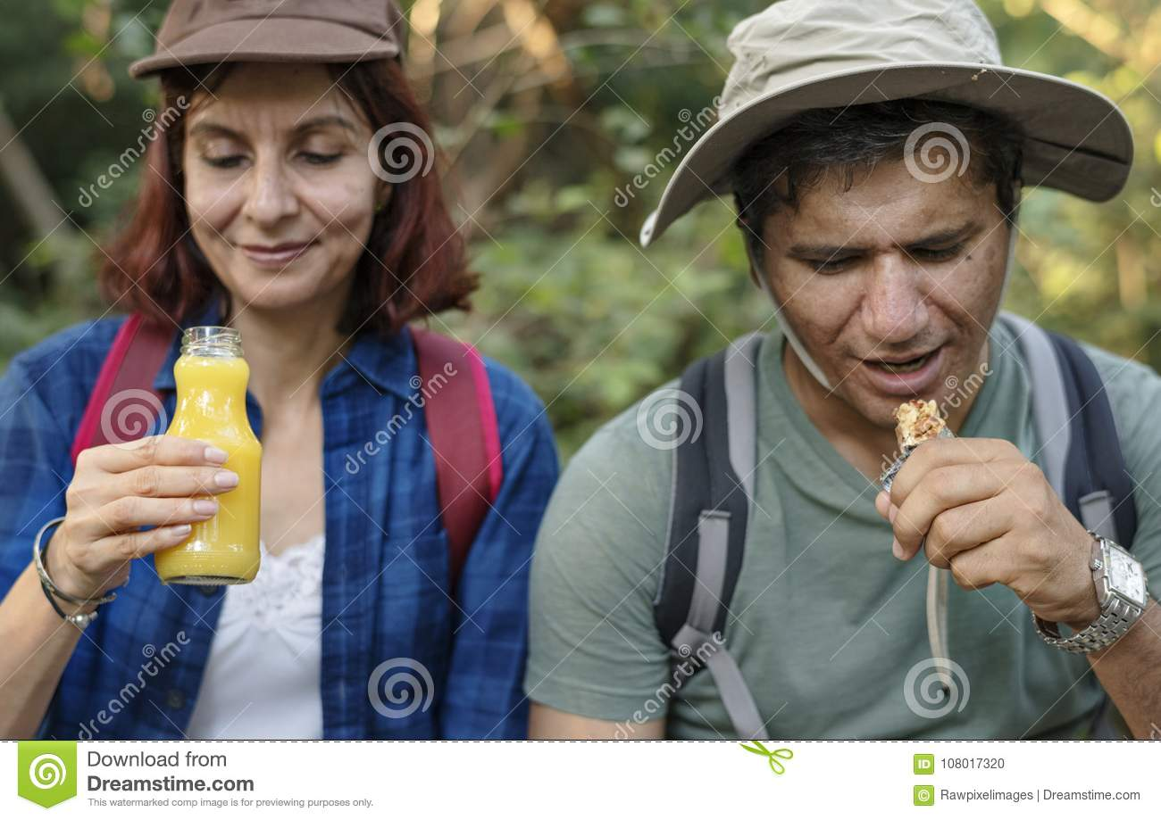 Couple having a break from trekking