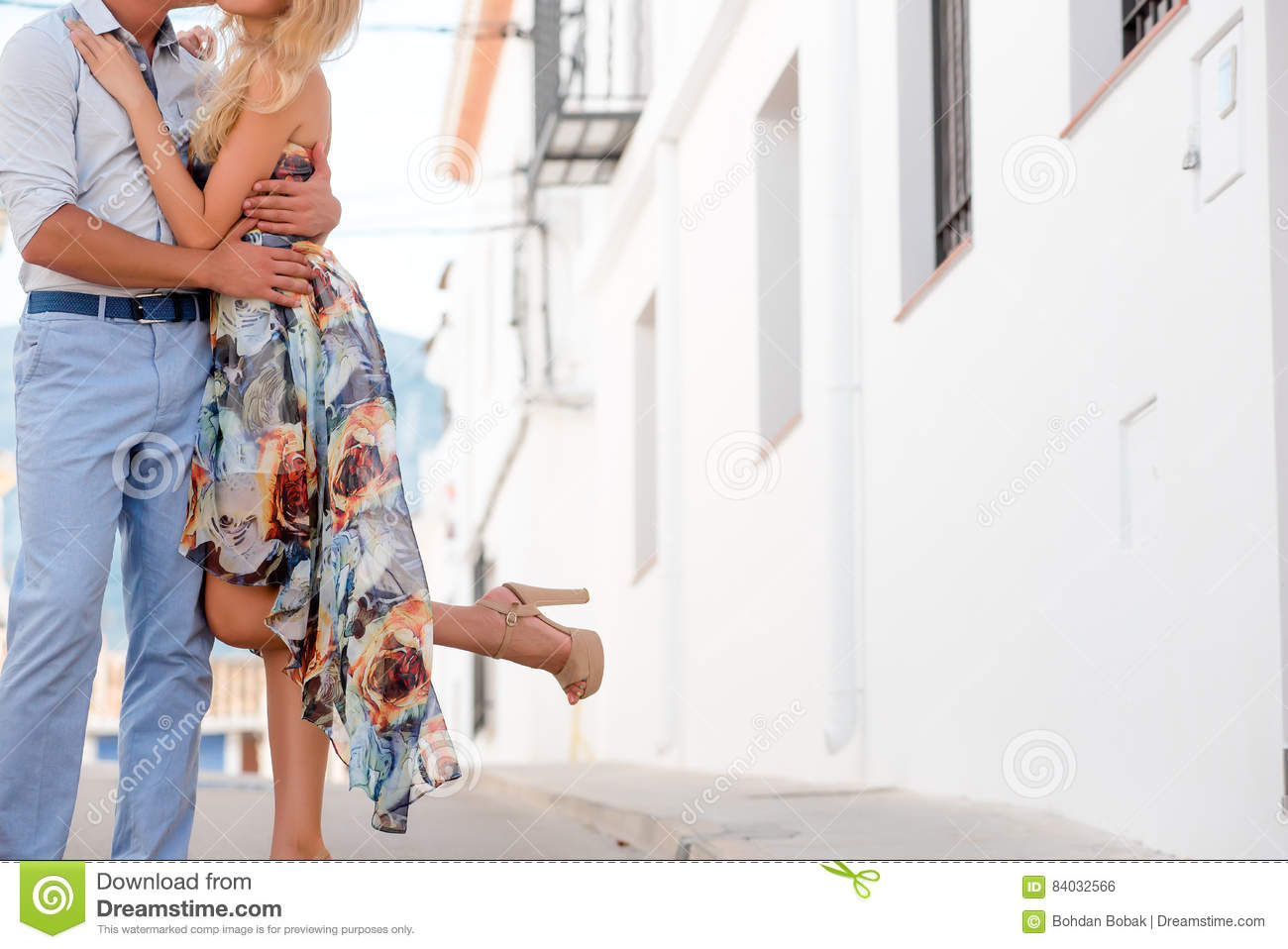 Couple having a date. Close-up of legs