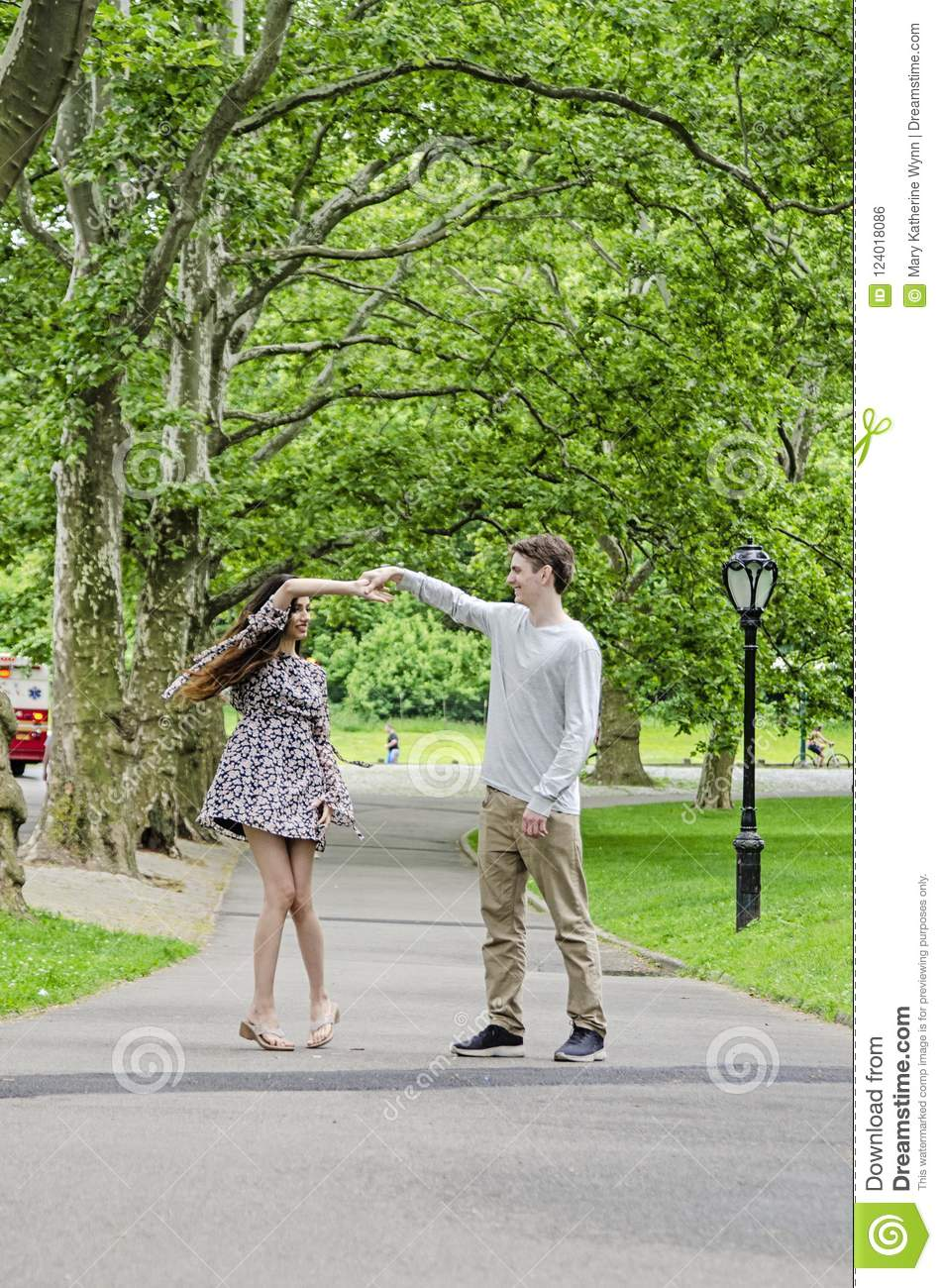 Couple having fun in Central Park in New York City