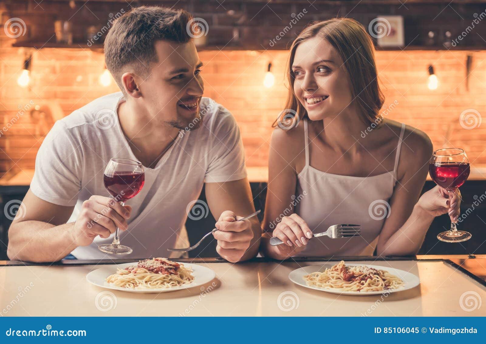 Couple having romantic dinner