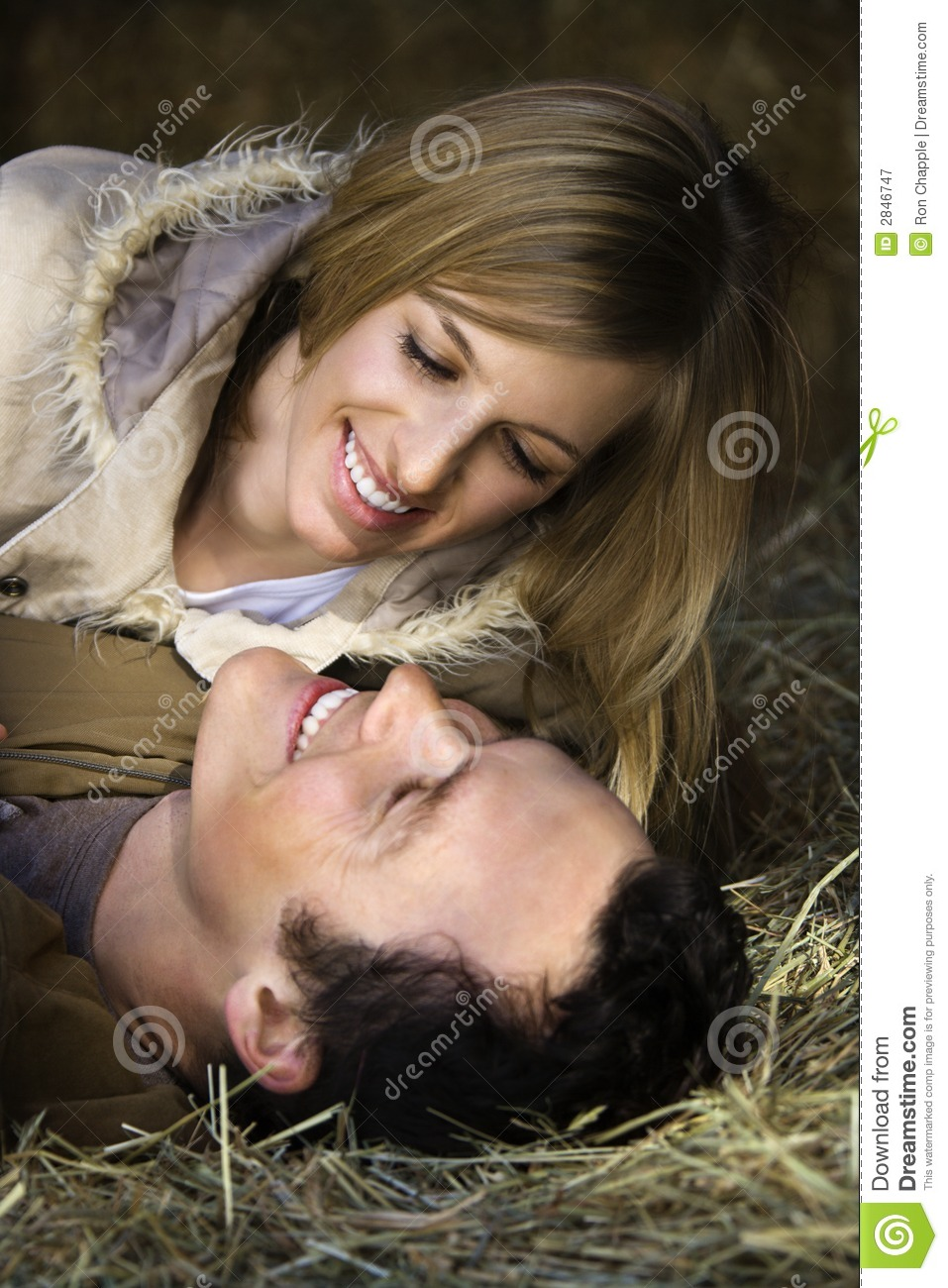 Couple in hay.