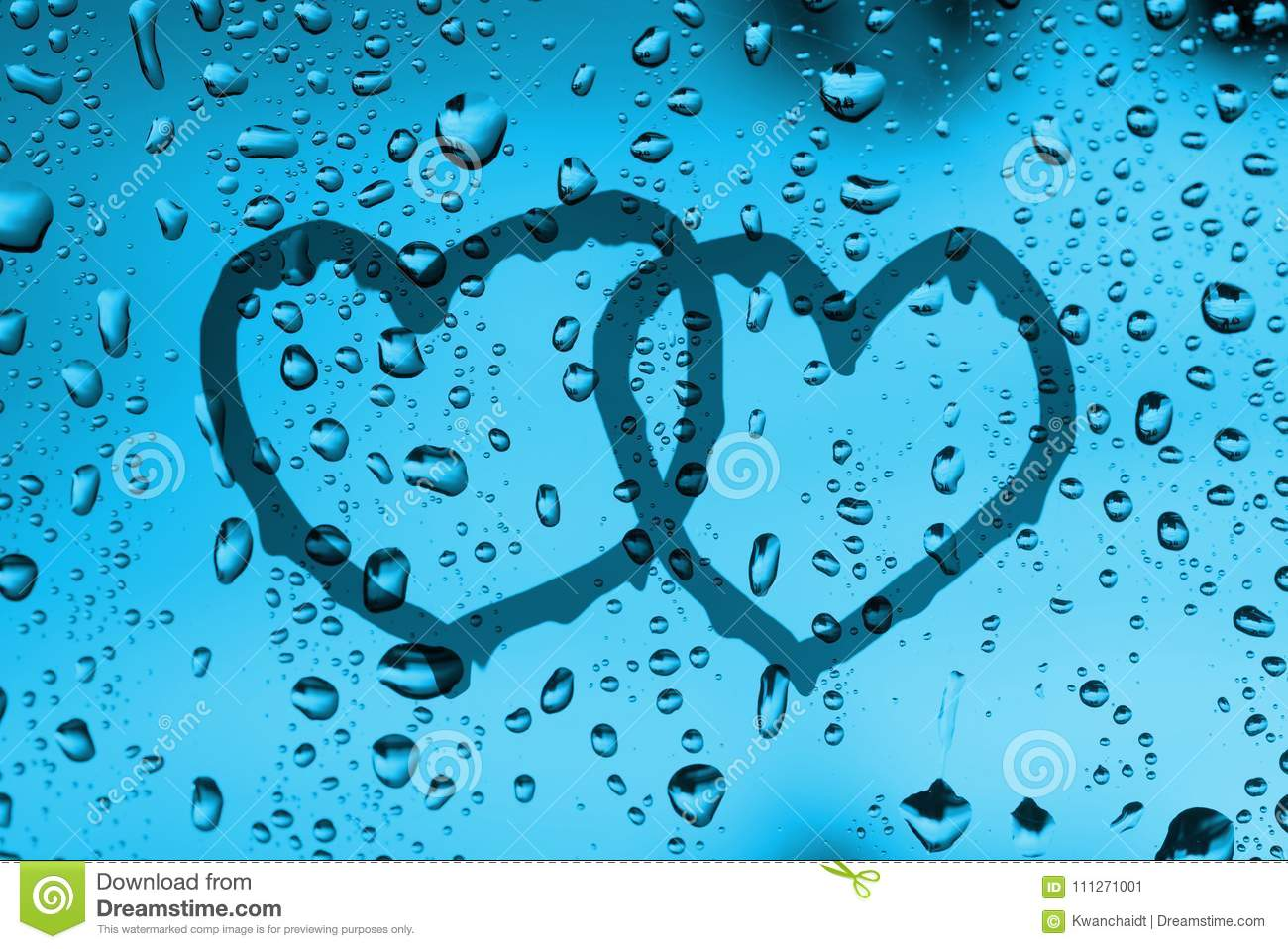 Couple Heart Draw On Water Drops Glass Window Stock Image Image Of
