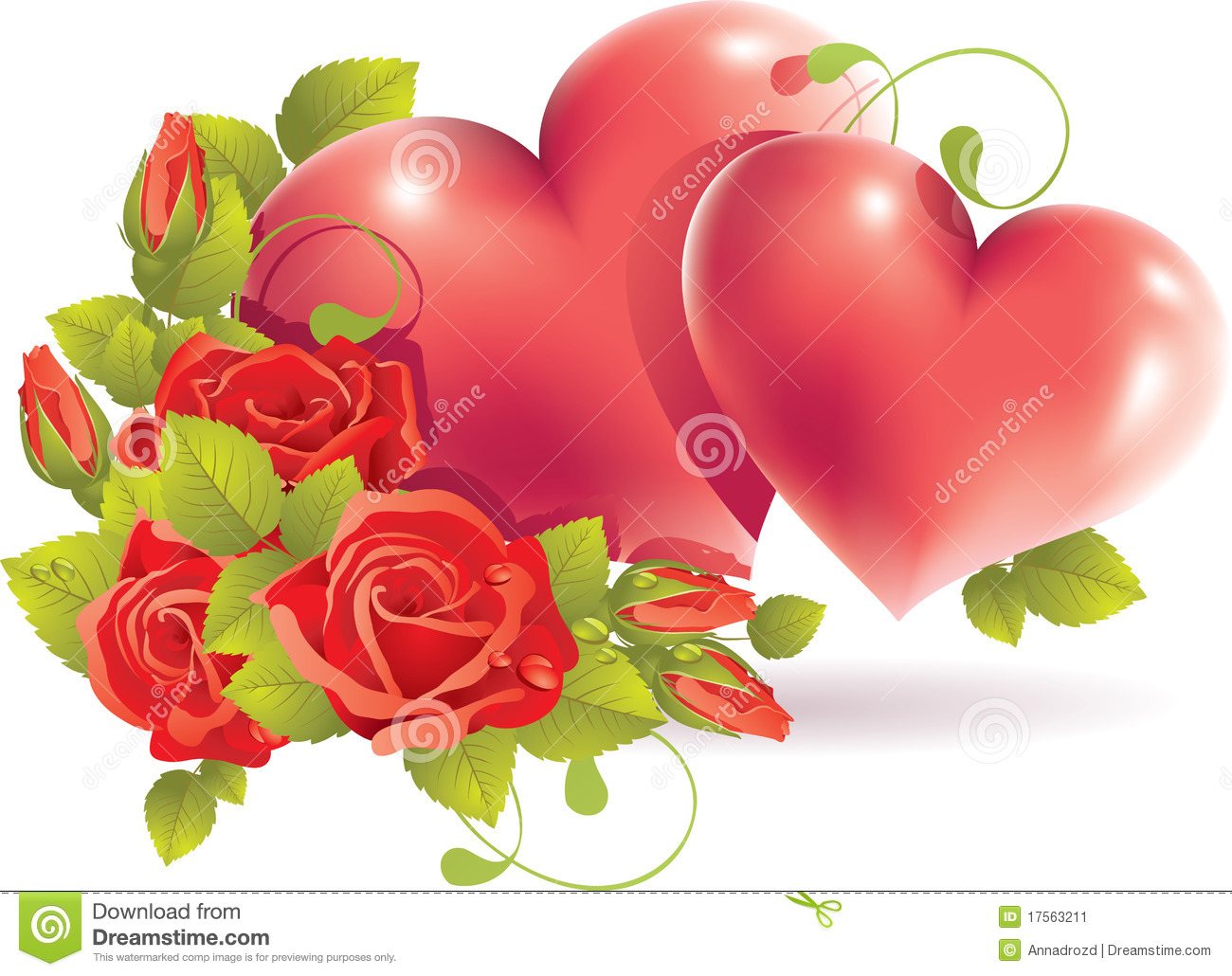 Couple Heart With Rose Stock Image