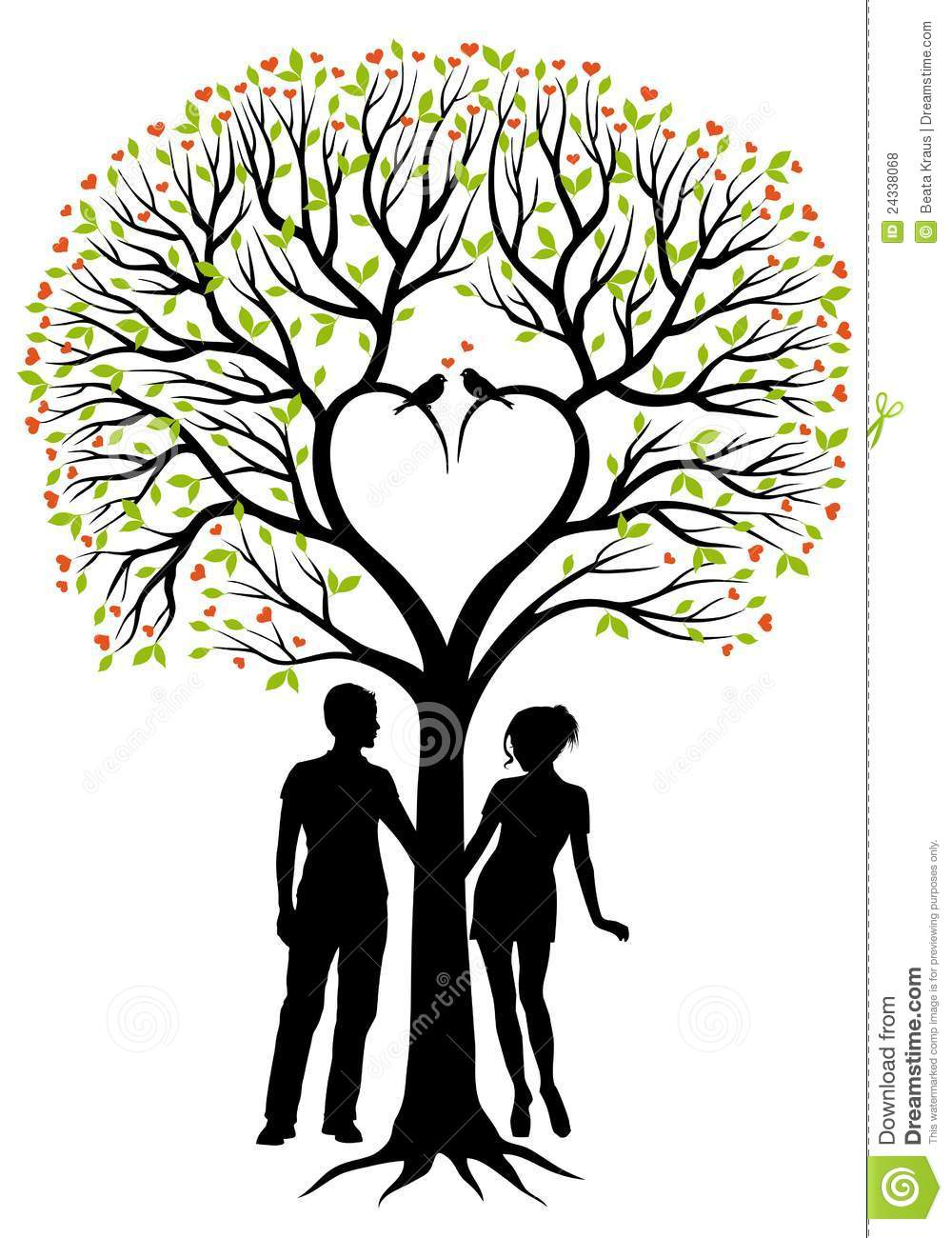 Couple With Heart Tree, Vector Background Stock Vector ...
