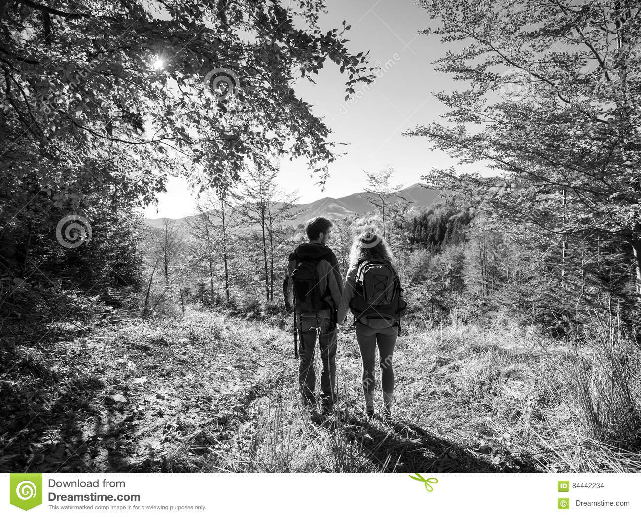 Rear view of young couple hikers holding hands and enjoying beautiful scenery on valley warm sunny day black and white