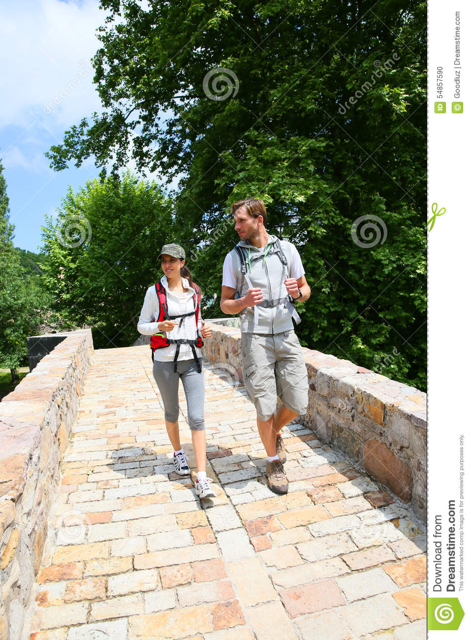 Couple of hikers enjoying trip