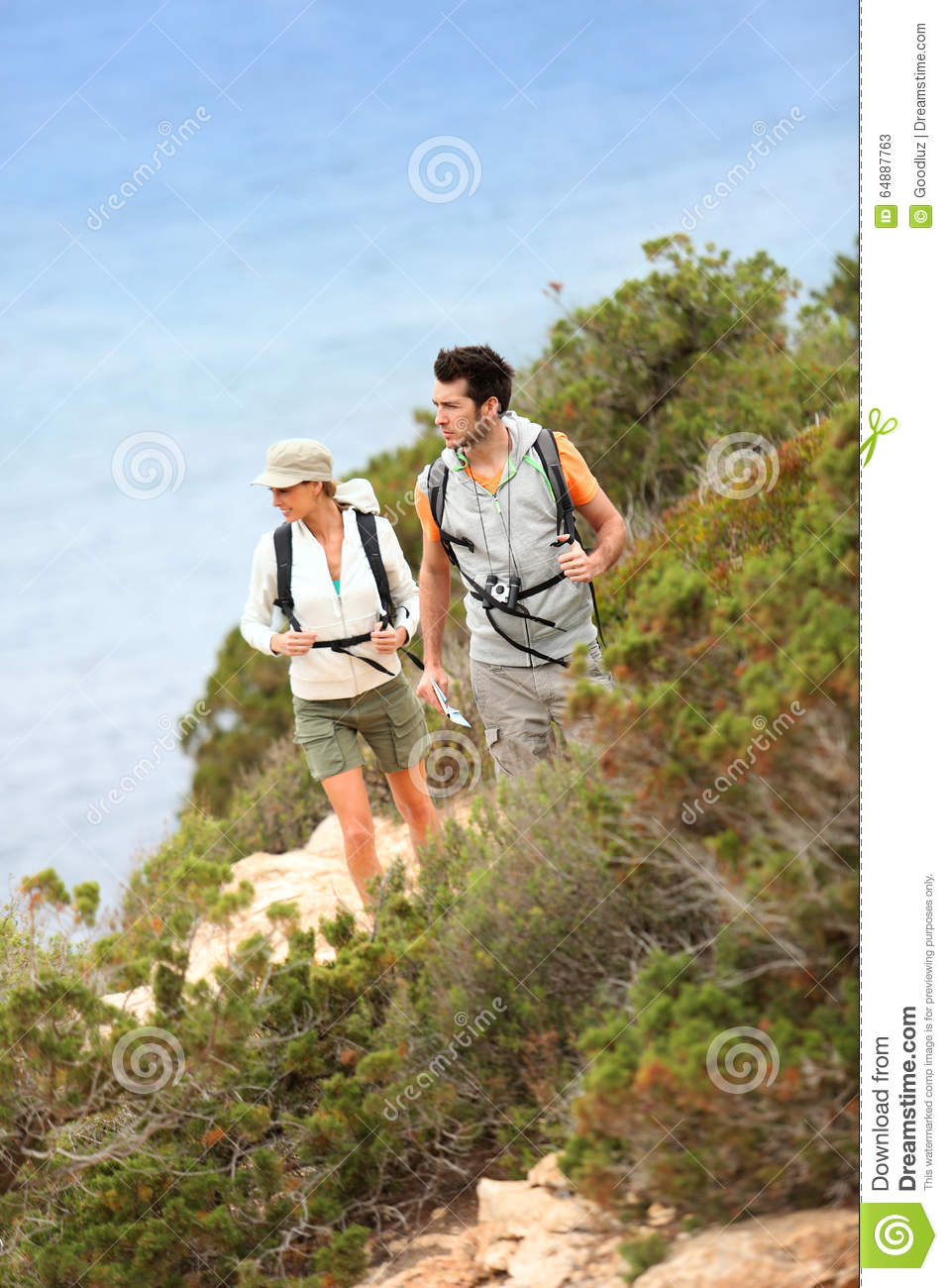 Couple of hikers on a trip visiting