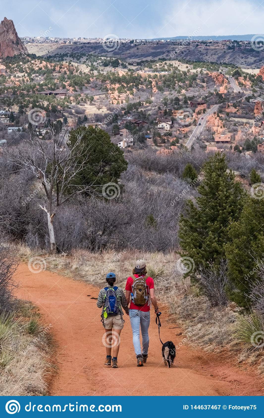 Couple Hiking With Dog On Nature Trail Garden Of The Gods Colorado Springs Red Rocks Open Space Editorial Photography Image Of Tree Woman 144637467